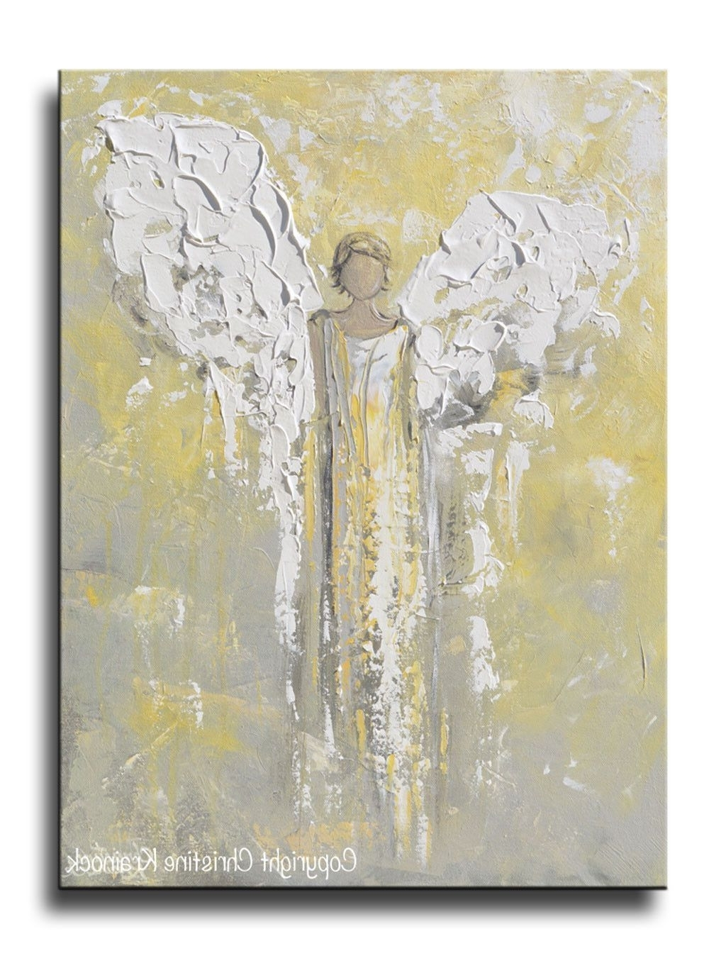 Most Current North Carolina Wall Art With Original Angel Painting Gold Grey Abstract Guardian Angel Textured (View 6 of 20)