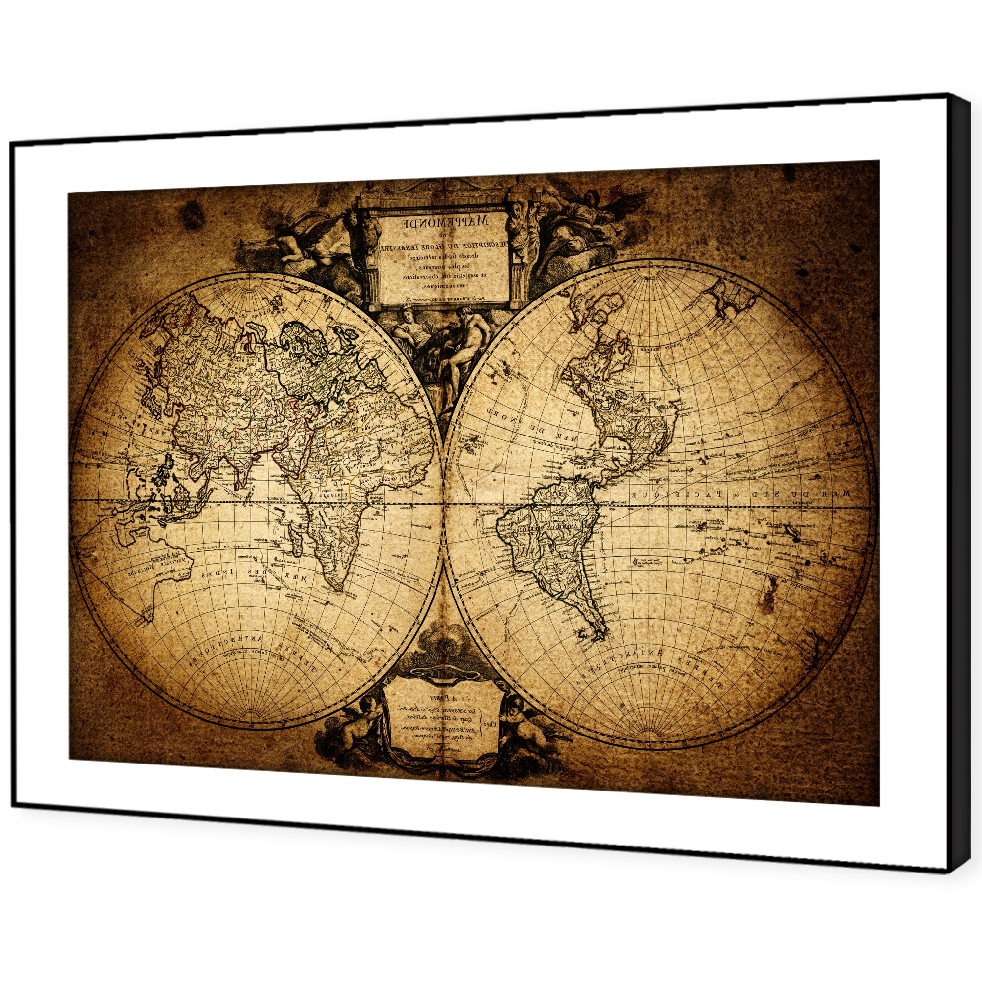 Most Current Sc359 Retro Vintage World Map Landscape Framed Wall Art Large Intended For Framed Wall Art (View 11 of 15)