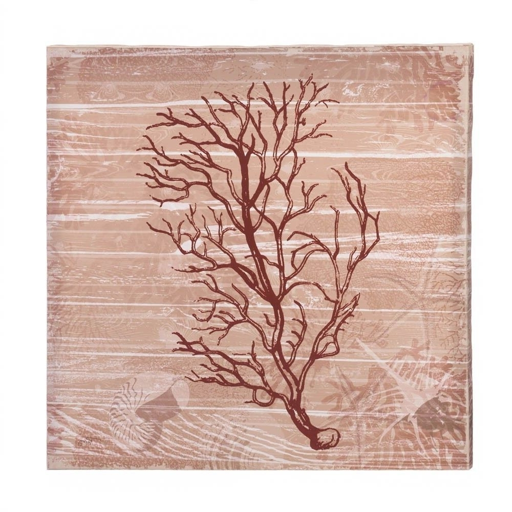 Most Current Sea Swept Coral Canvas Wall Art Red Under The Sea Style Wooden Frame Intended For Coral Wall Art (View 12 of 20)