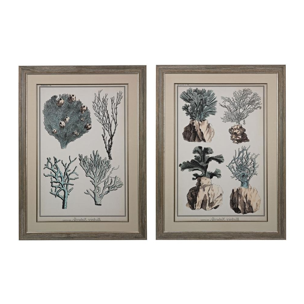 "Most Current Set Of 2 Framed Wall Art Within Titan Lighting 45 In. X 33 In. ""oversized Coral Species"" Framed (Gallery 10 of 20)"