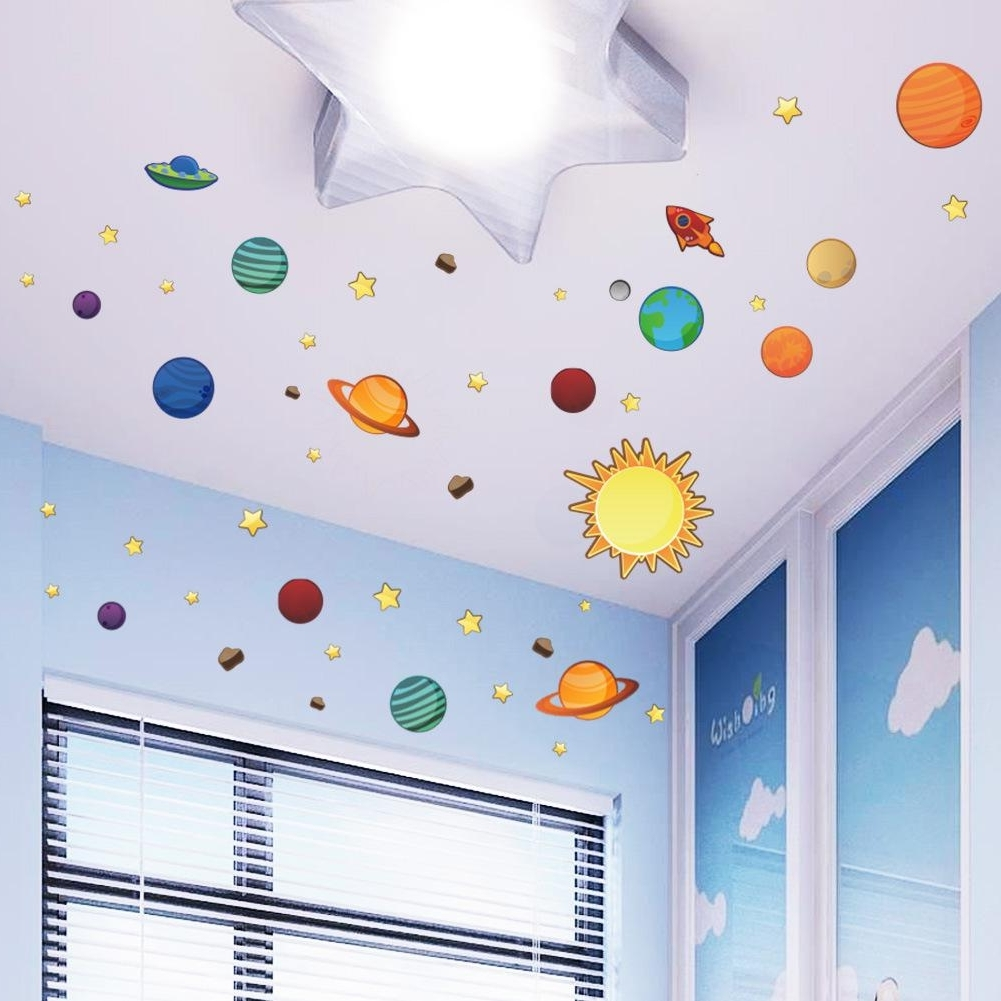 Most Current Universe Wall Stickers For Kids Room Nursery Adesivos De Parede Pvc With Kids Wall Art (View 8 of 15)