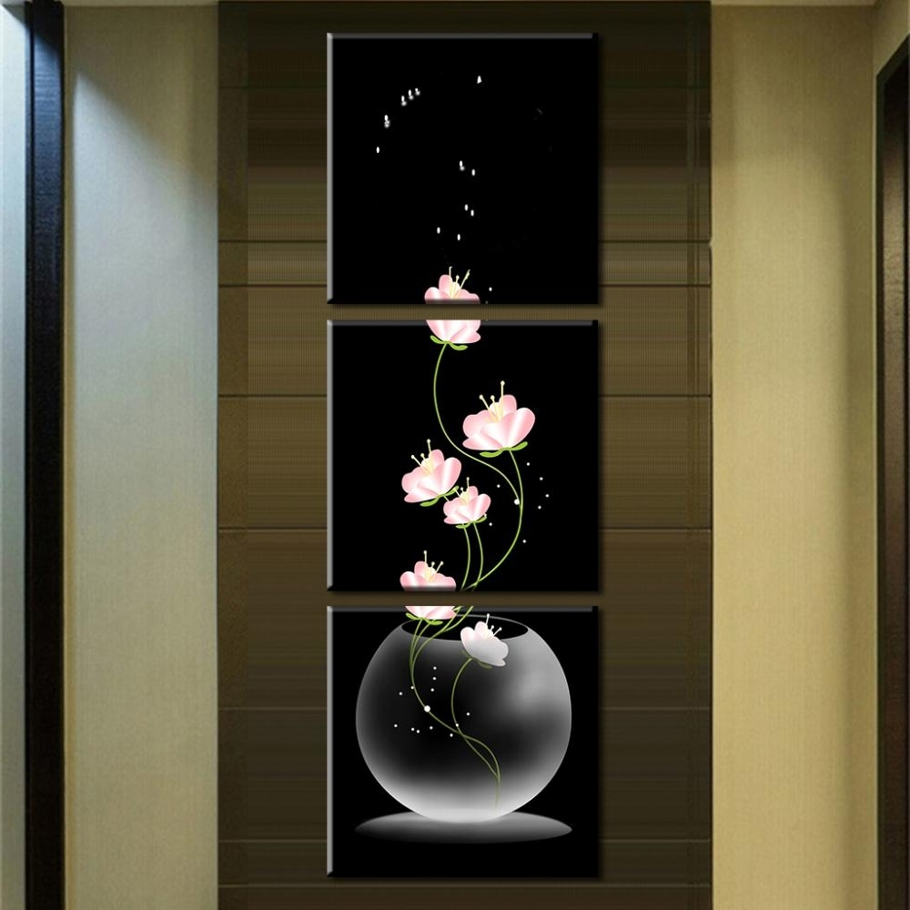 Most Current Vertical Wall Art For 3 Pcs/set Abstract Art Modern Wall Paintings Flowers Porch Vertical (View 6 of 20)