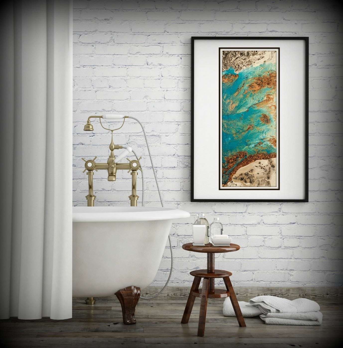 Most Current Vertical Wall Art With Regard To Blue And Copper Art, Vertical Wall Art Prints Fine Art Prints (View 8 of 20)