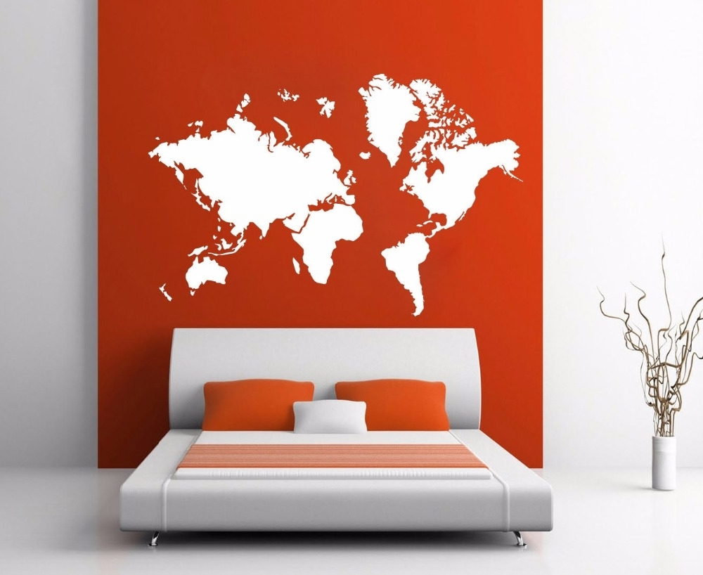 Most Current World Map Atlas Silhouette Wall Art Decal Sticker Removable Vinyl Pertaining To Vinyl Wall Art World Map (Gallery 13 of 20)