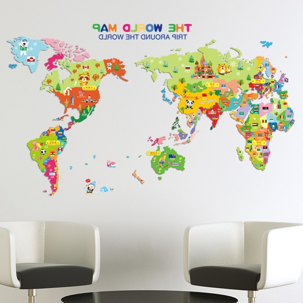 Most Current World Map English Letters Wall Sticker Decal Home Paper Removable Throughout World Map Wall Art For Kids (View 10 of 20)