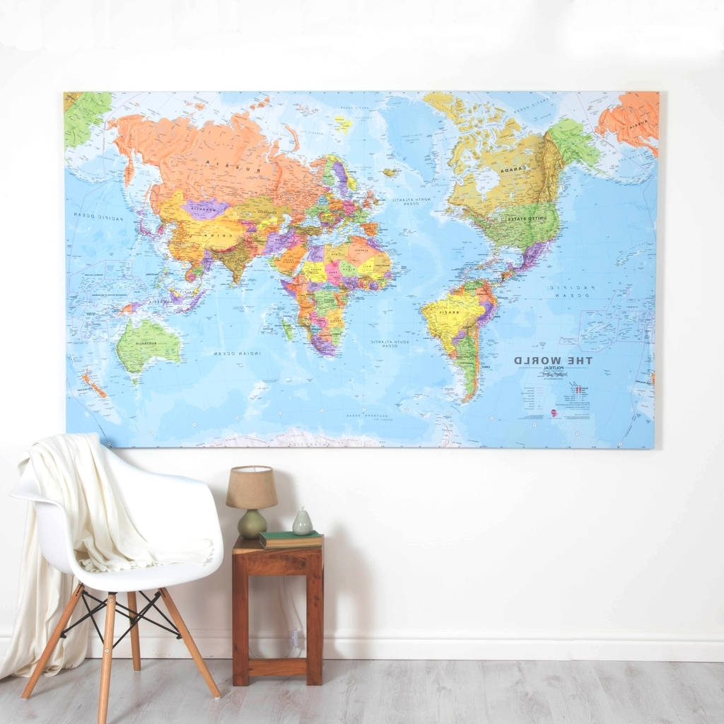 Most Current World Map Wall Art Canvas Pertaining To Giant Canvas World Mapmaps International (View 3 of 20)