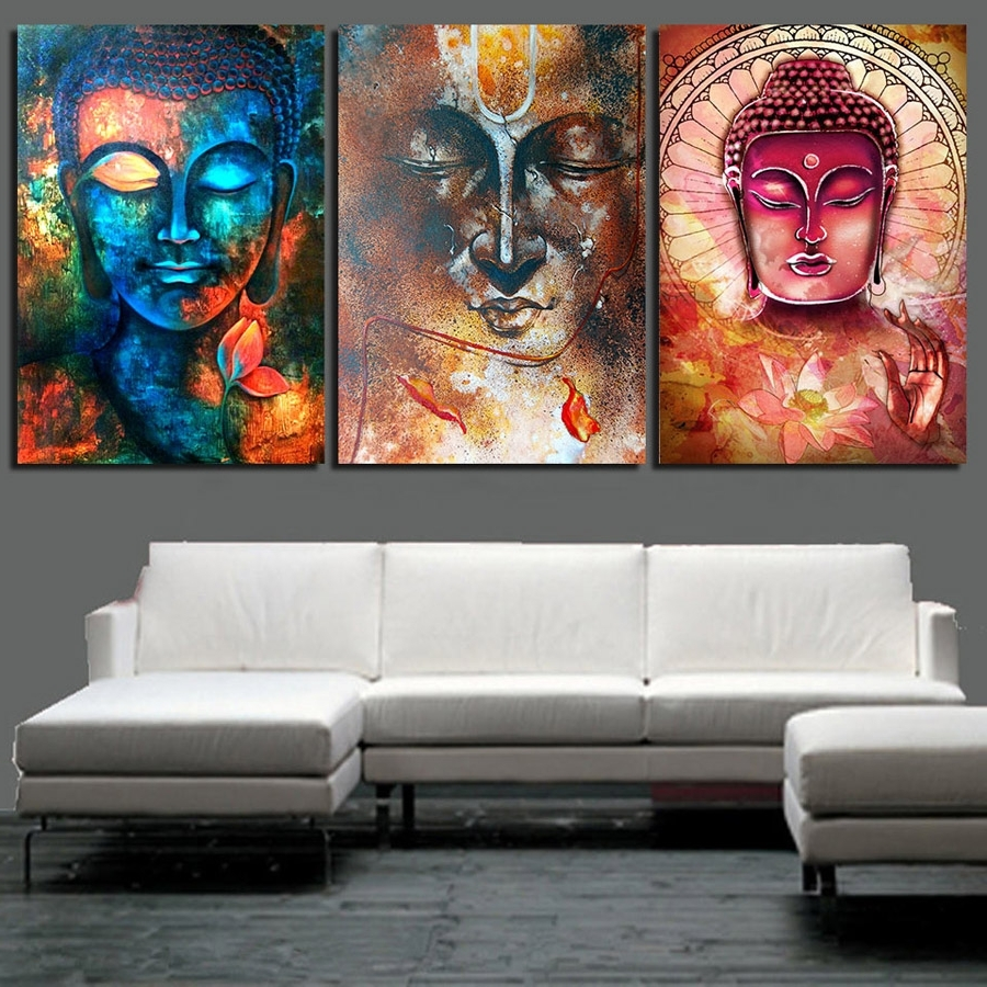Most Popular 3 Piece Canvas Wall Art Pertaining To Hd Printed Abstract Buddha Wall Art 3 Piece Canvas Living Room (View 14 of 20)