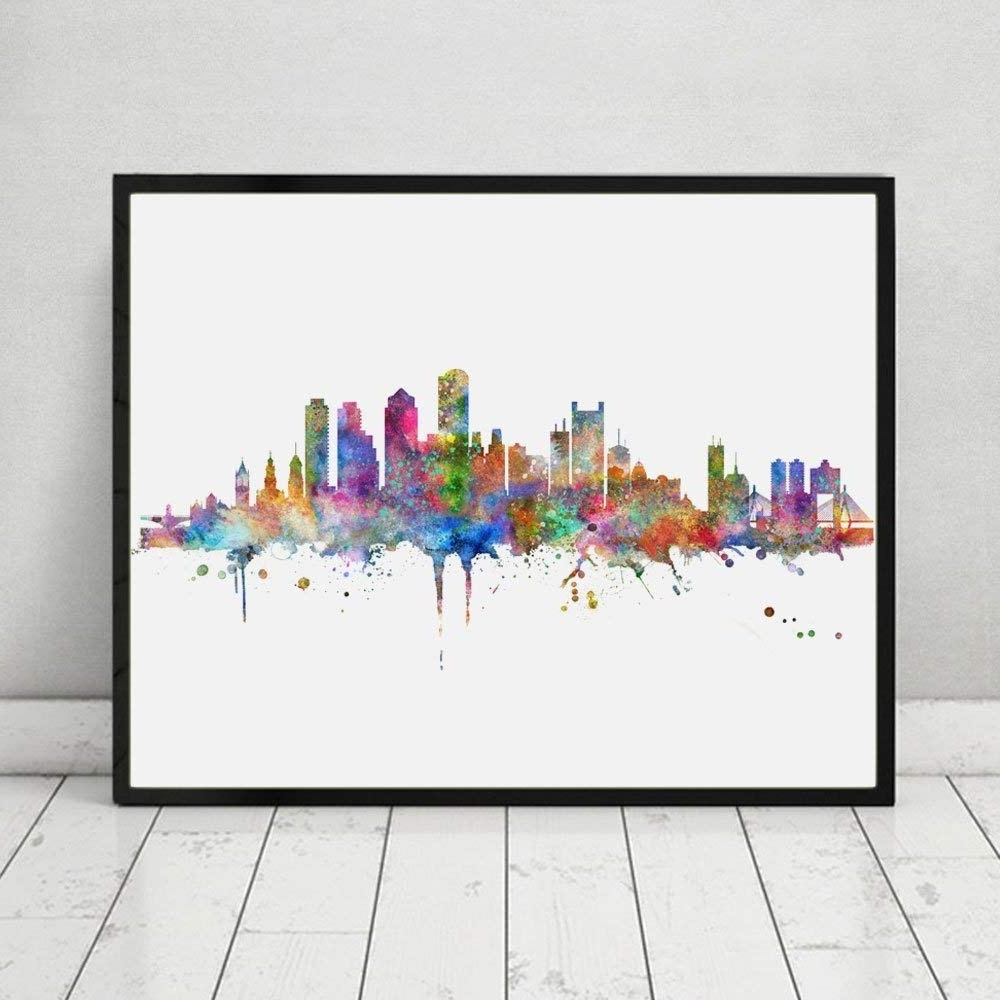 Most Popular Amazon: Boston Skyline Art Print Painting Inspirational City With Regard To Boston Wall Art (Gallery 15 of 20)