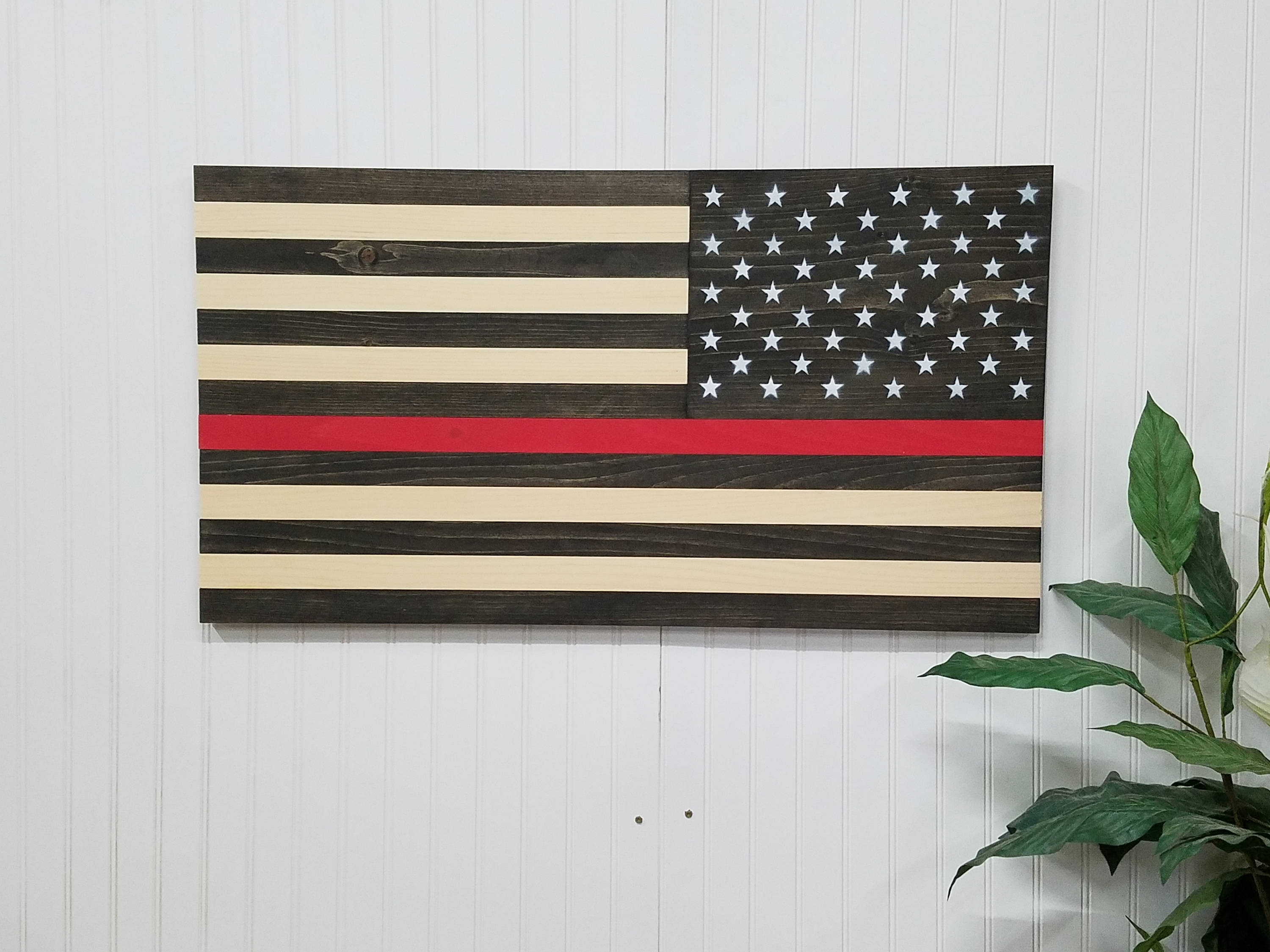 Most Popular American Flag Thin Red Line Theme Wooden Wall Mount Art Decor Usa Intended For Wooden American Flag Wall Art (View 11 of 20)