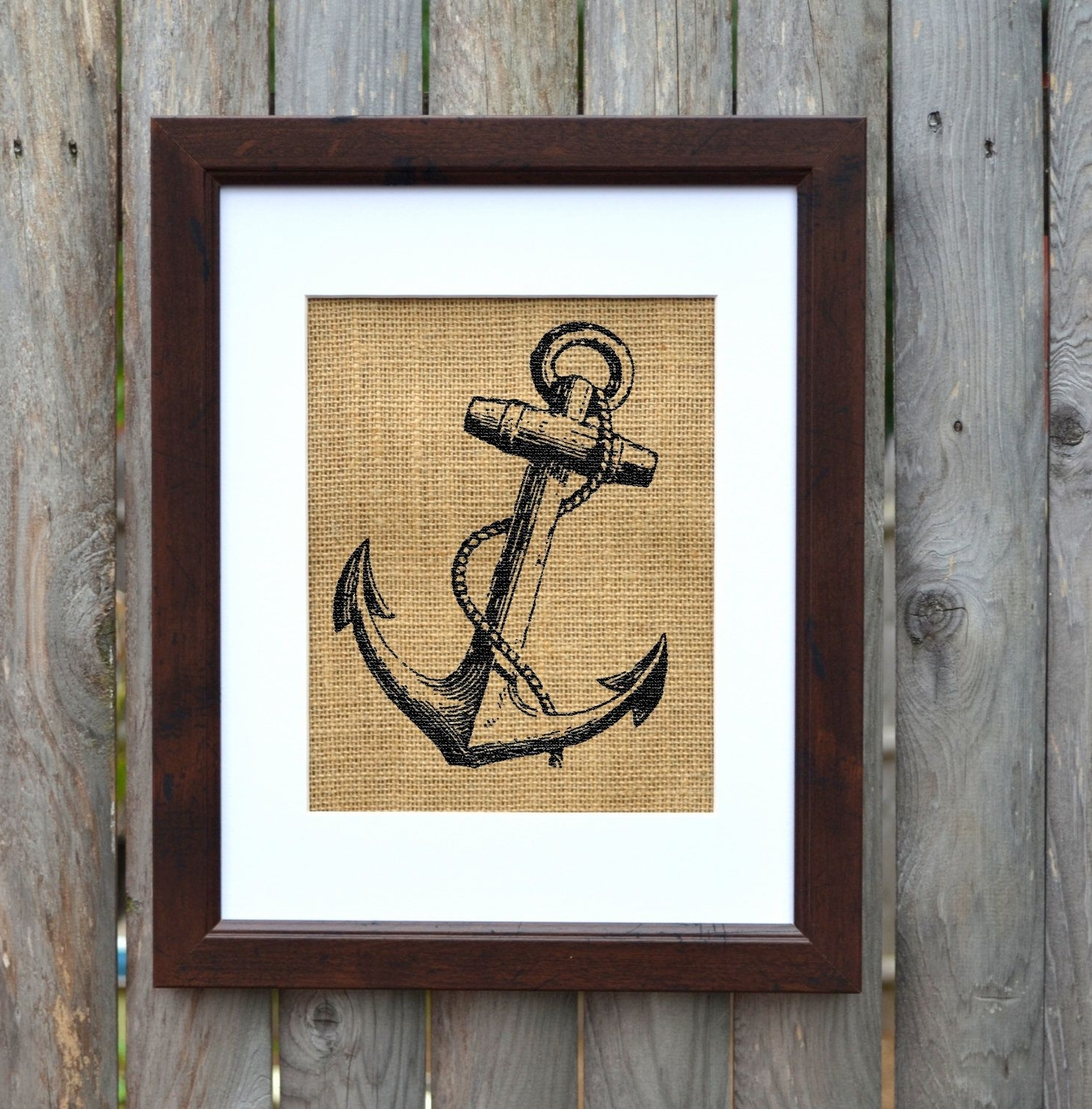 Most Popular Anchor Burlap Wall Art, Nautical Wall Art, Burlap Decor, Frame Regarding Anchor Wall Art (View 13 of 20)
