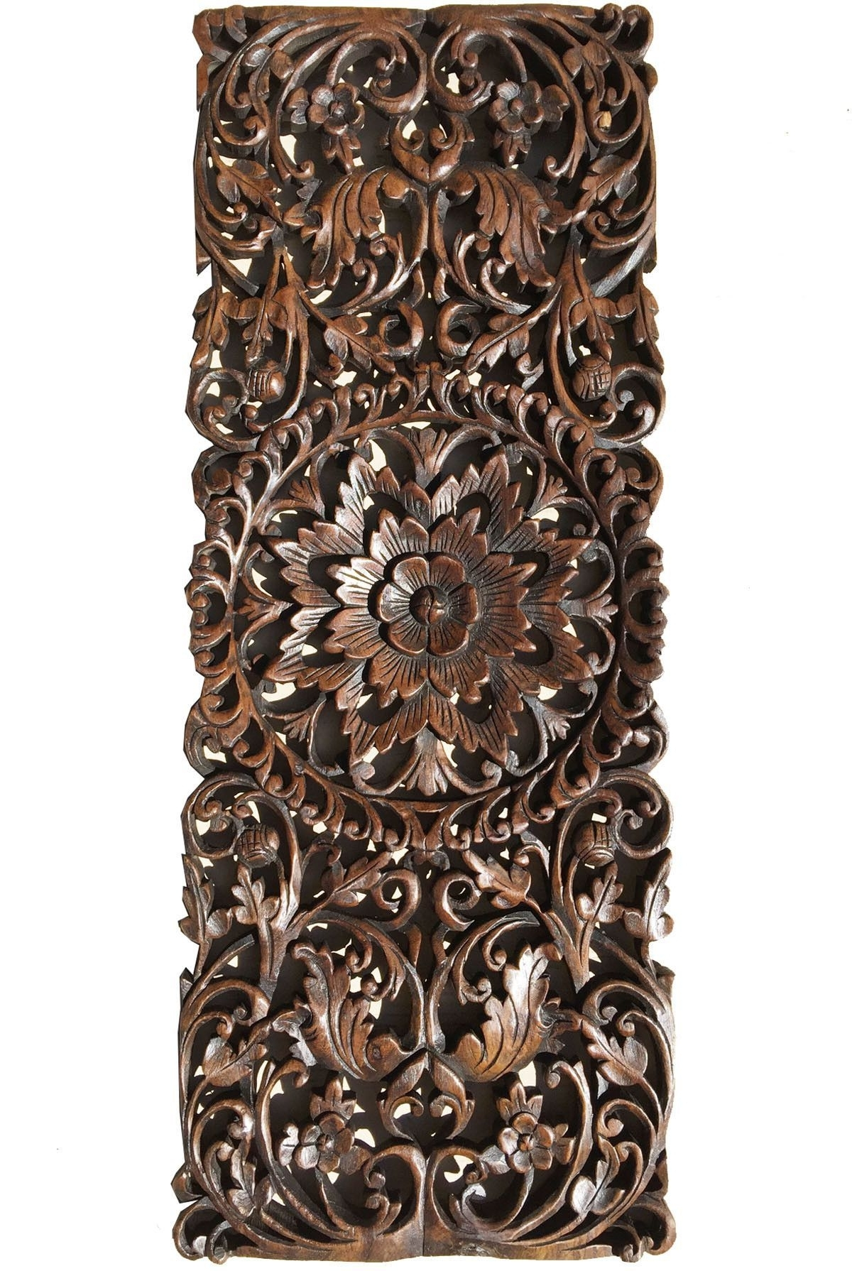 Most Popular Asian Wall Art Pertaining To Floral Tropical Carved Wood Wall Panel (View 9 of 15)