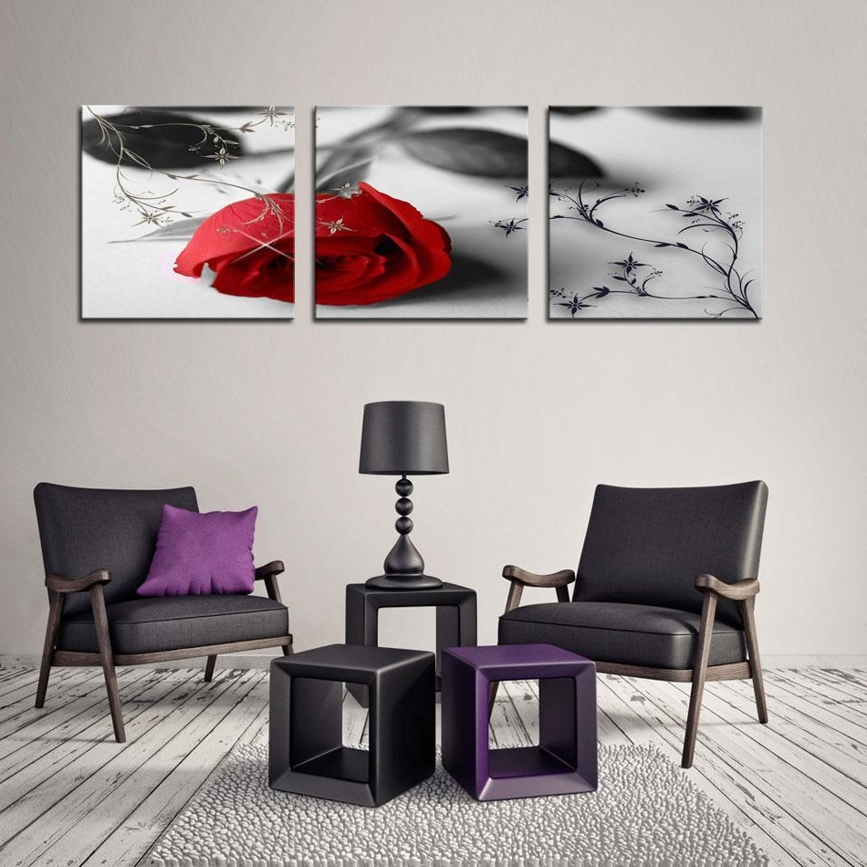 Most Popular Best Quality Canvas Print Flower Wall Art Painting Of Love Red Rose Regarding Flower Wall Art (View 16 of 20)