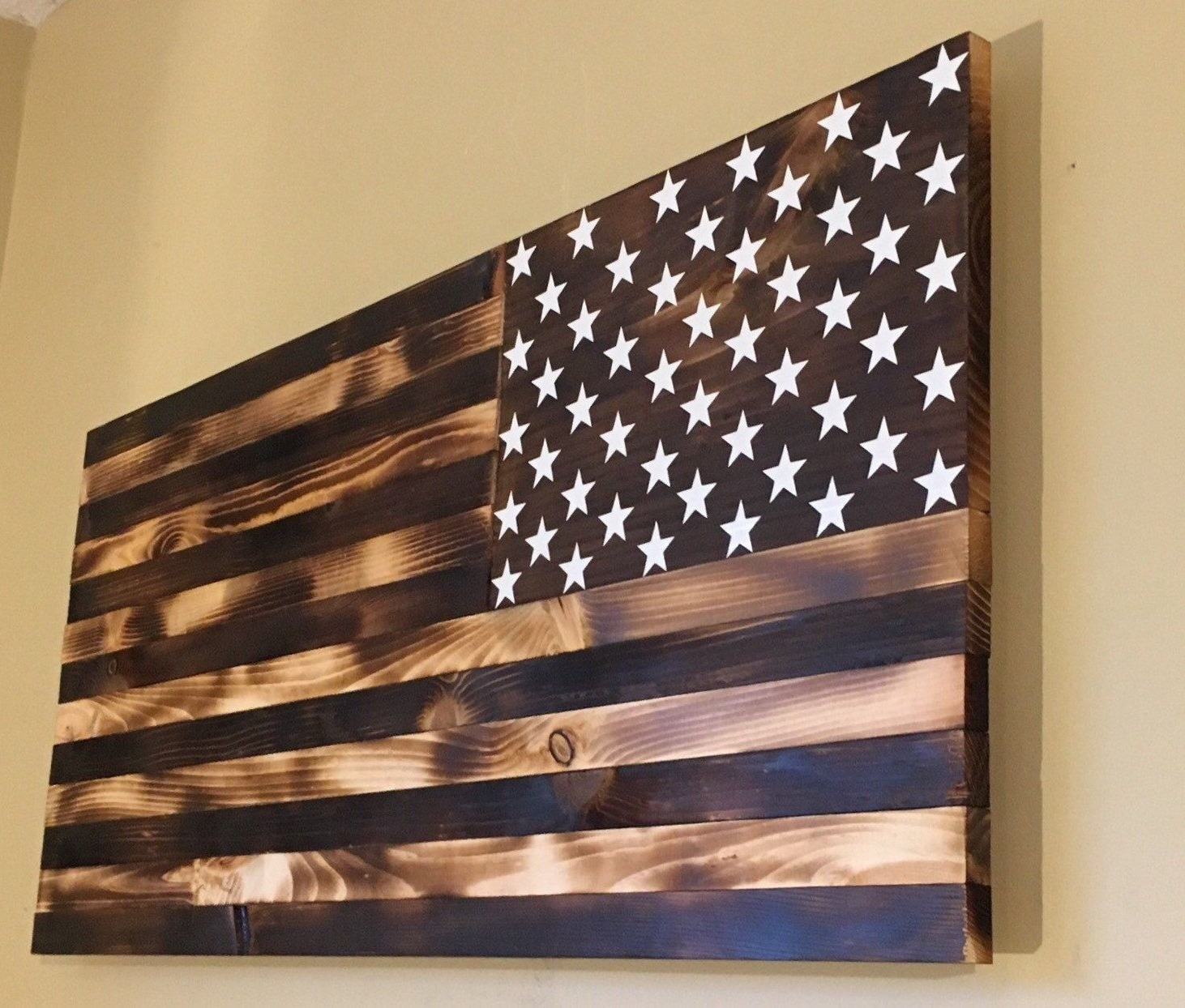 Most Popular Burnt Wooden American Flagcountryboycraftin On Etsy (Gallery 1 of 20)