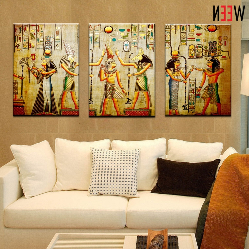 Most Popular Canvas Painting Triple Abstract Picture Egyptian Mural Room Modern With Large Framed Canvas Wall Art (View 1 of 20)