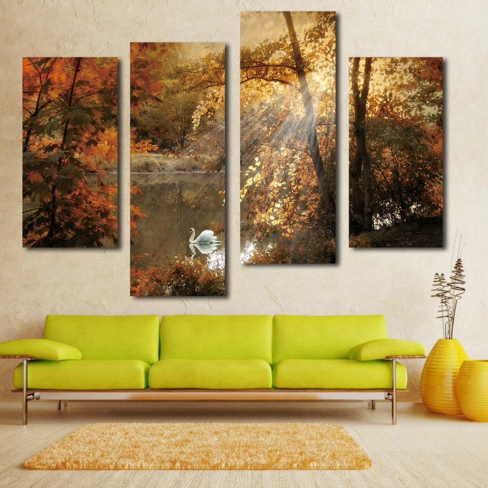 Most Popular Cheap Canvas Wall Art With Regard To Nice White Swan Painting Fairy Multi Panel Canvas Wall Art Landscape (View 9 of 15)