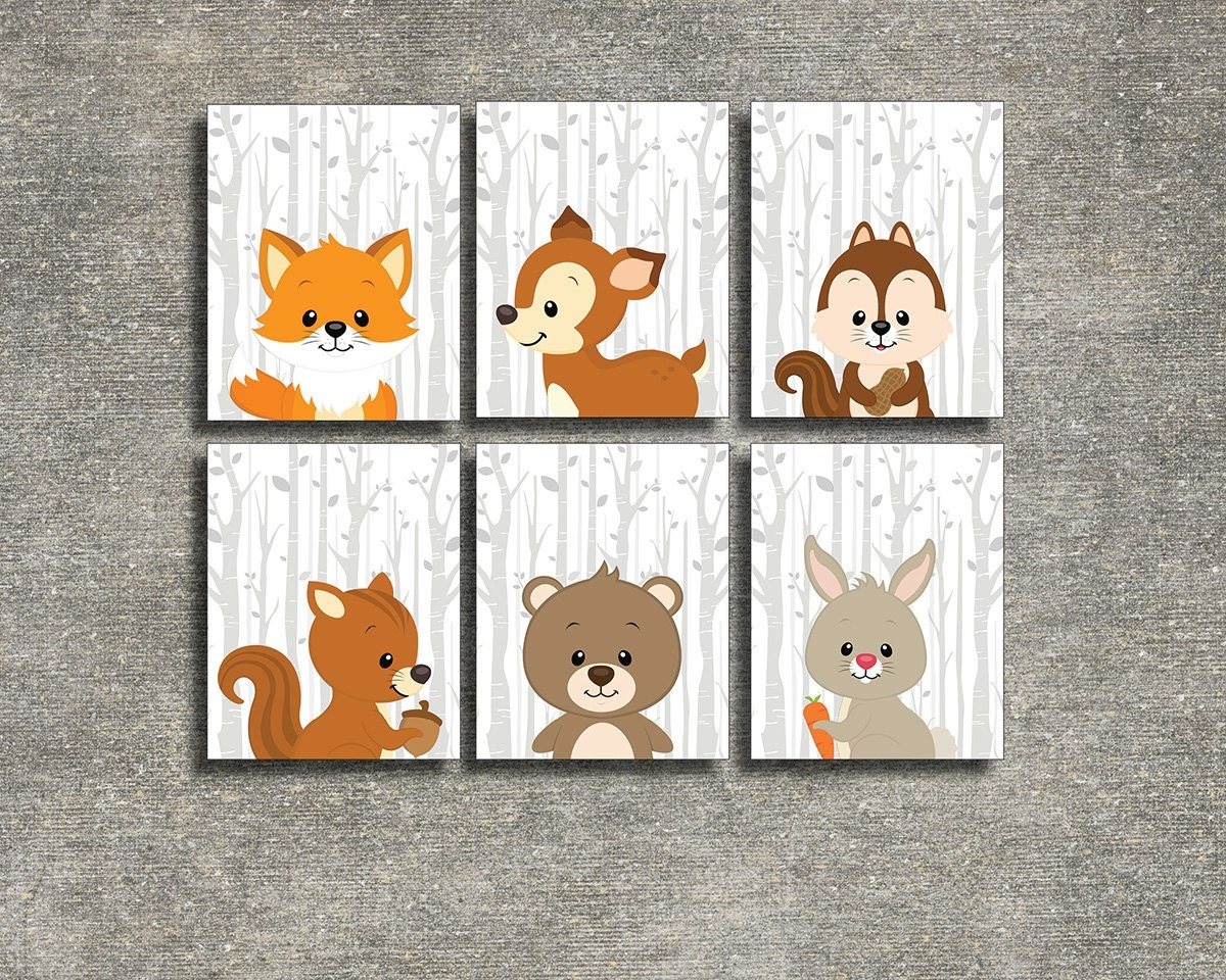 Most Popular Colorful Cloud Studio — Woodland Animals Set Of 6 – Printable Inside Woodland Nursery Wall Art (View 5 of 20)