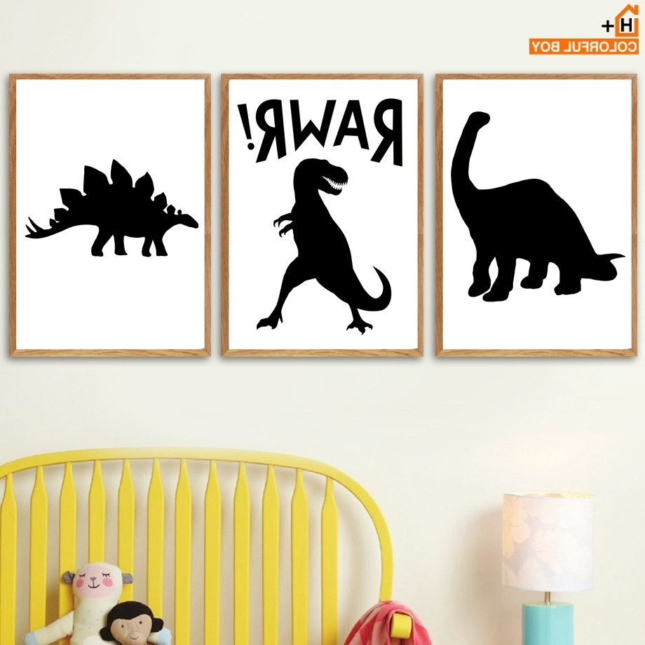 Most Popular Dinosaur Crocodile Bat Wall Art Canvas Painting Nordic Posters And For Dinosaur Wall Art (View 14 of 20)