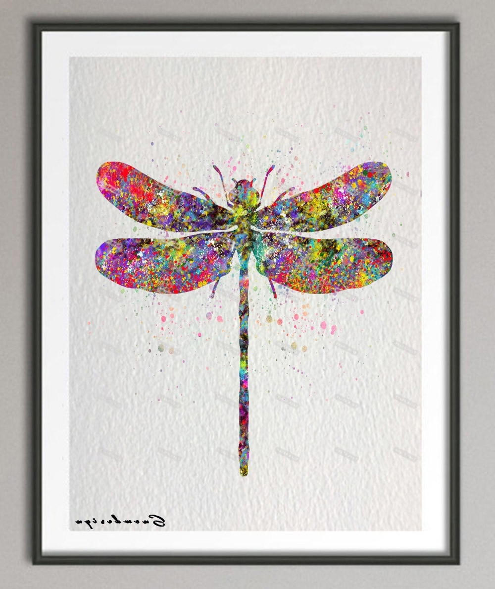 Most Popular Diy Original Watercolor Dragonfly Canvas Painting Pop Wall Art Inside Dragonfly Painting Wall Art (View 12 of 20)
