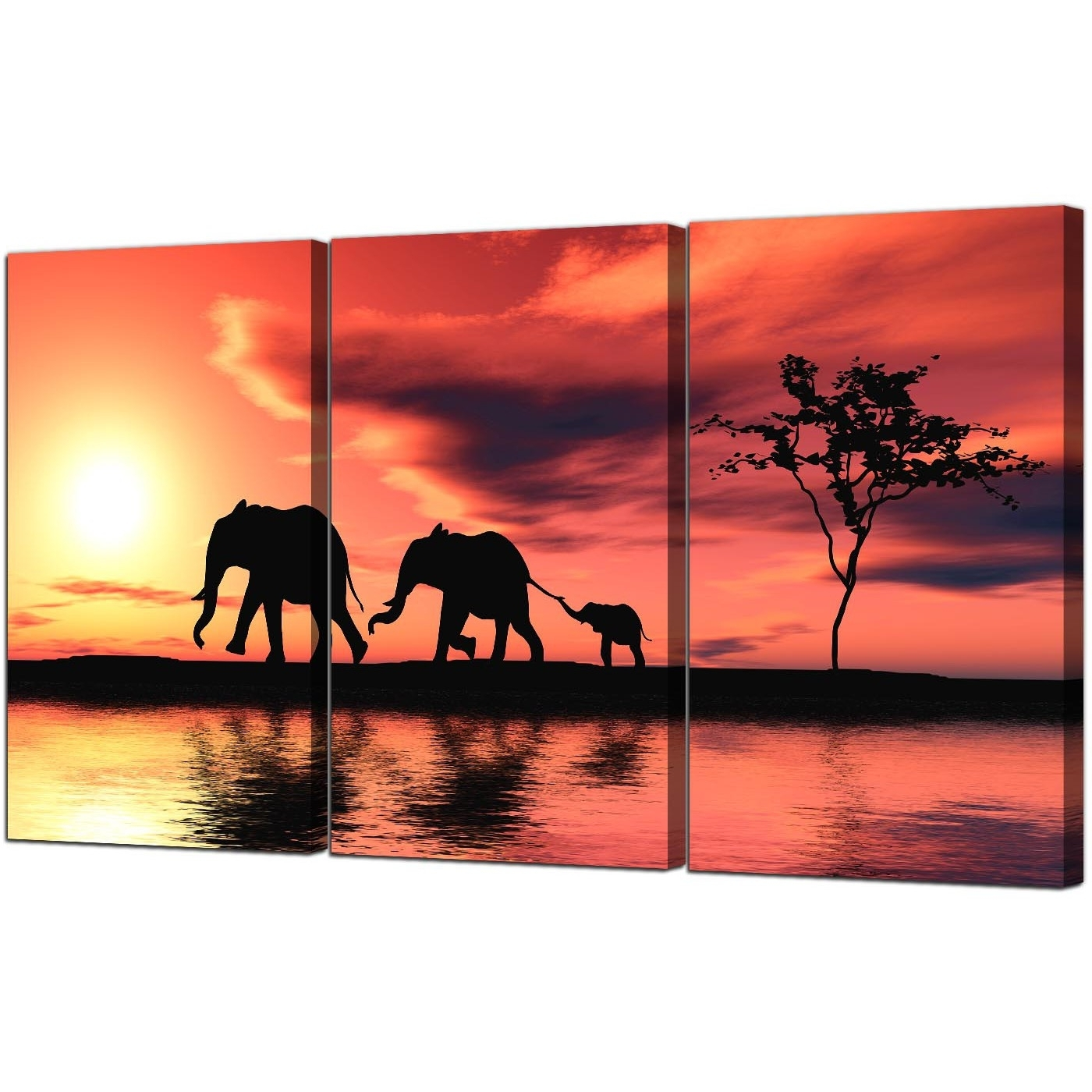 Most Popular Elephant Canvas Wall Art Within Elephants Canvas Prints Set Of 3 For Your Living Room (View 1 of 20)