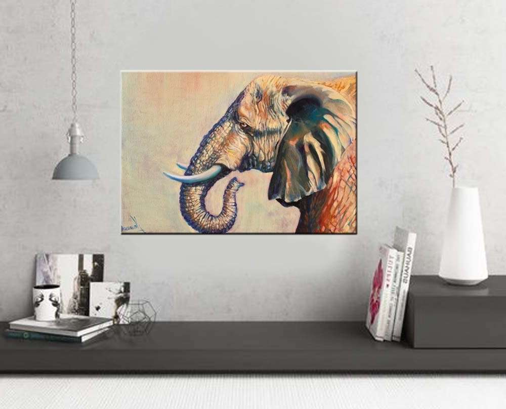 "Most Popular Elephant Wall Art ""beautiful Giant"" Wildlife Art – Art Studio Pertaining To Elephant Canvas Wall Art (View 10 of 20)"