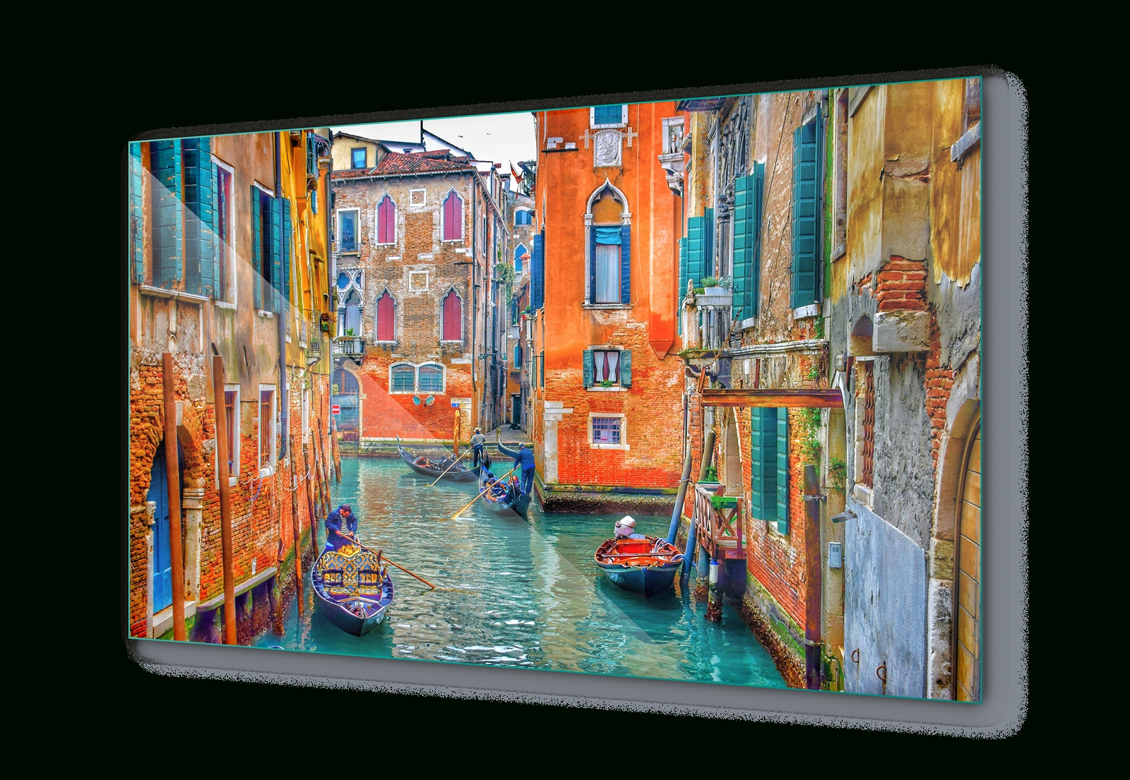 Most Popular Glass Wall Art For Venice Italy Canal Colours Canvas & Glass Wall Art Pictures (Fw  (View 13 of 15)