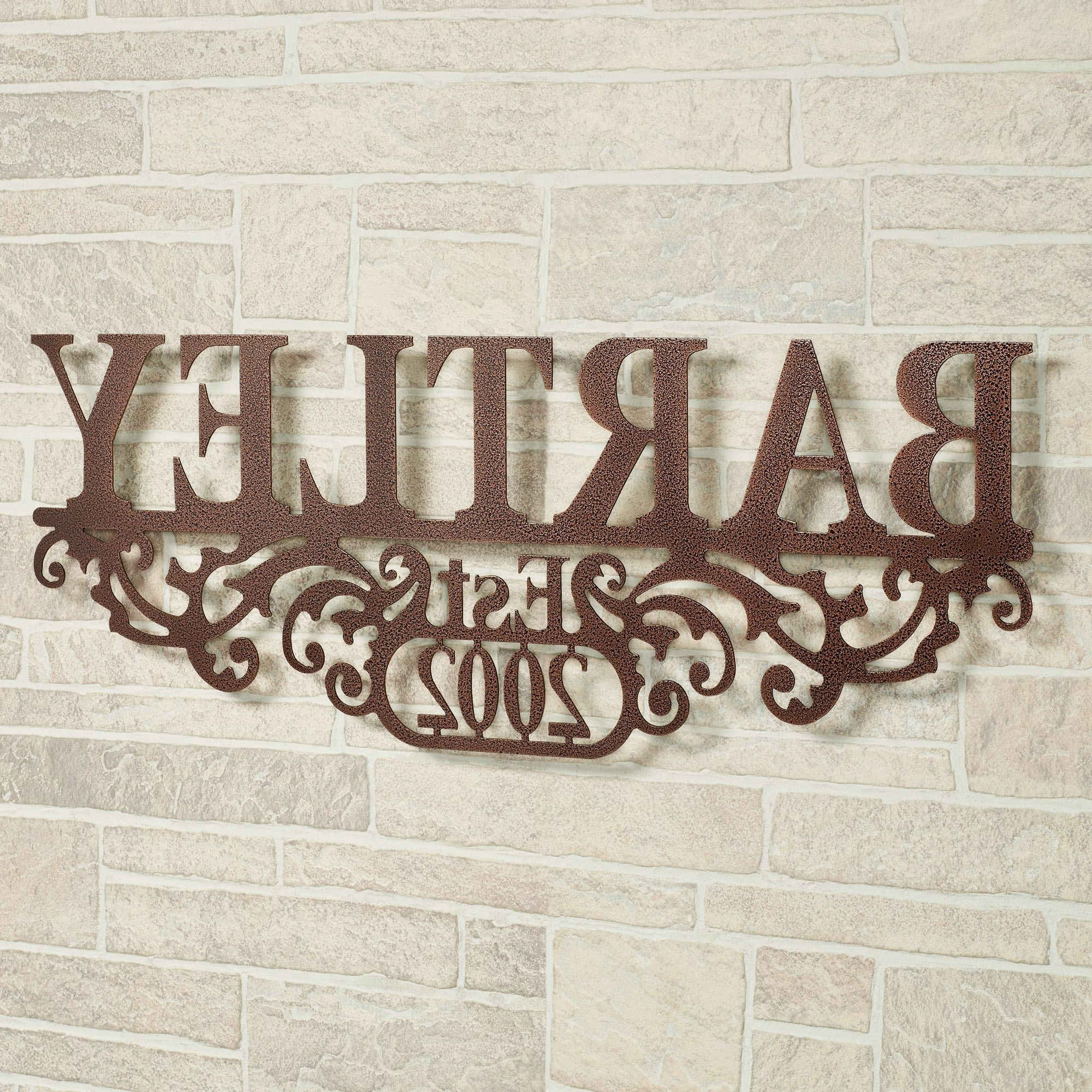 Most Popular Kinship Copper Family Name And Year Personalized Metal Wall Art Sign Throughout Personalized Metal Wall Art (View 11 of 20)