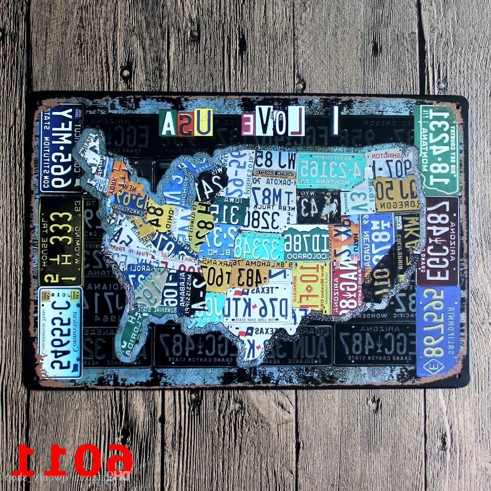 Most Popular License Plates Map Vintage Tin Sign Bar Pub Home Wall Decor European Throughout Vintage American Flag Wall Art (Gallery 18 of 20)