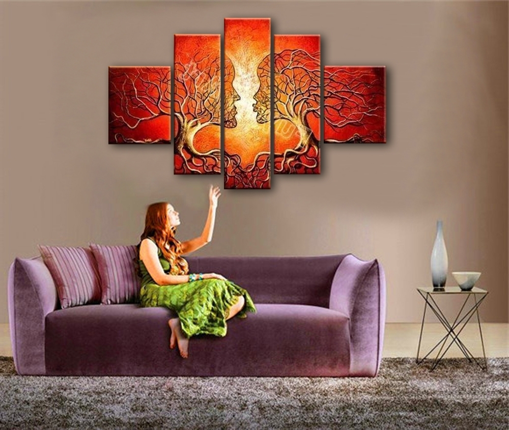 Most Popular Living Room Painting Wall Art Inside Red Painted Wall Art Canvas Decoration Abstract Tree Face Oil (Gallery 9 of 20)