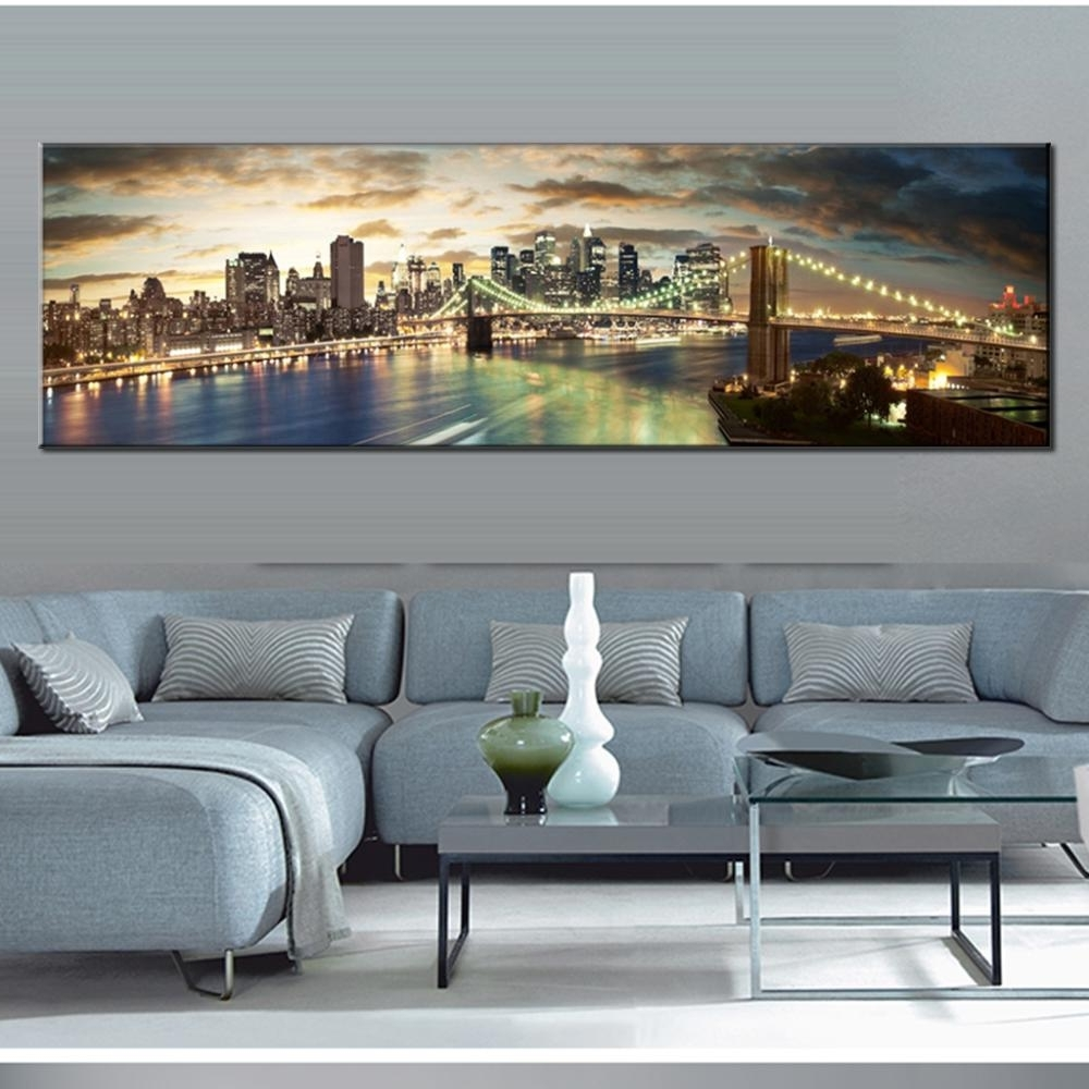 Most Popular Modern Large Canvas Wall Art Inside Modern Landscape Painting The Brooklyn Bridge Canvas Prints Large (View 15 of 20)