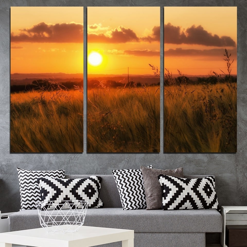 Most Popular Nature Wall Art Intended For Canvas Painting Beautiful Nature Wall Art Pictures 3 Panel Sunset (Gallery 15 of 20)