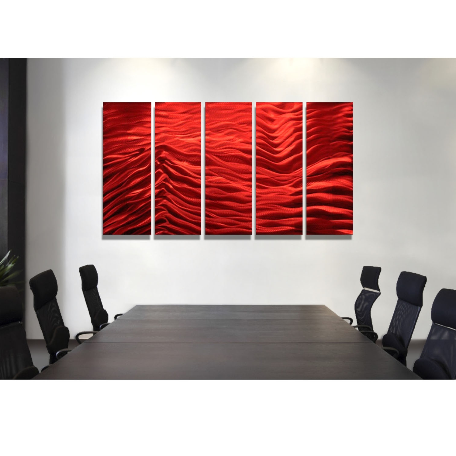 Most Popular Red Wall Art In Red Inertia – Red Metal Wall Art – 5 Panel Wall Décorjon Allen (View 7 of 15)