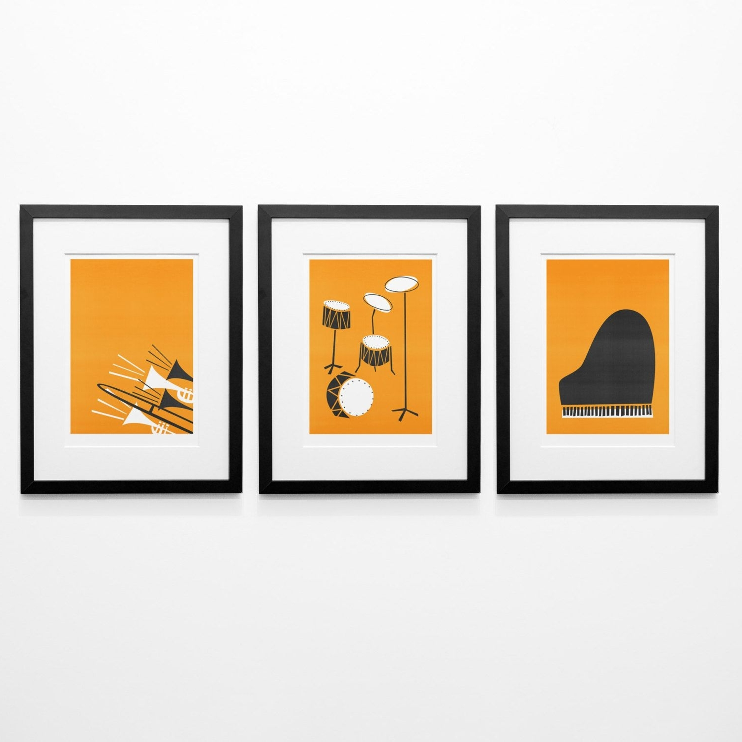 Most Popular Set Of 3 Music Posters, Mid Century Modern Wall Art, Birthday Gift Intended For Mid Century Modern Wall Art (View 14 of 20)