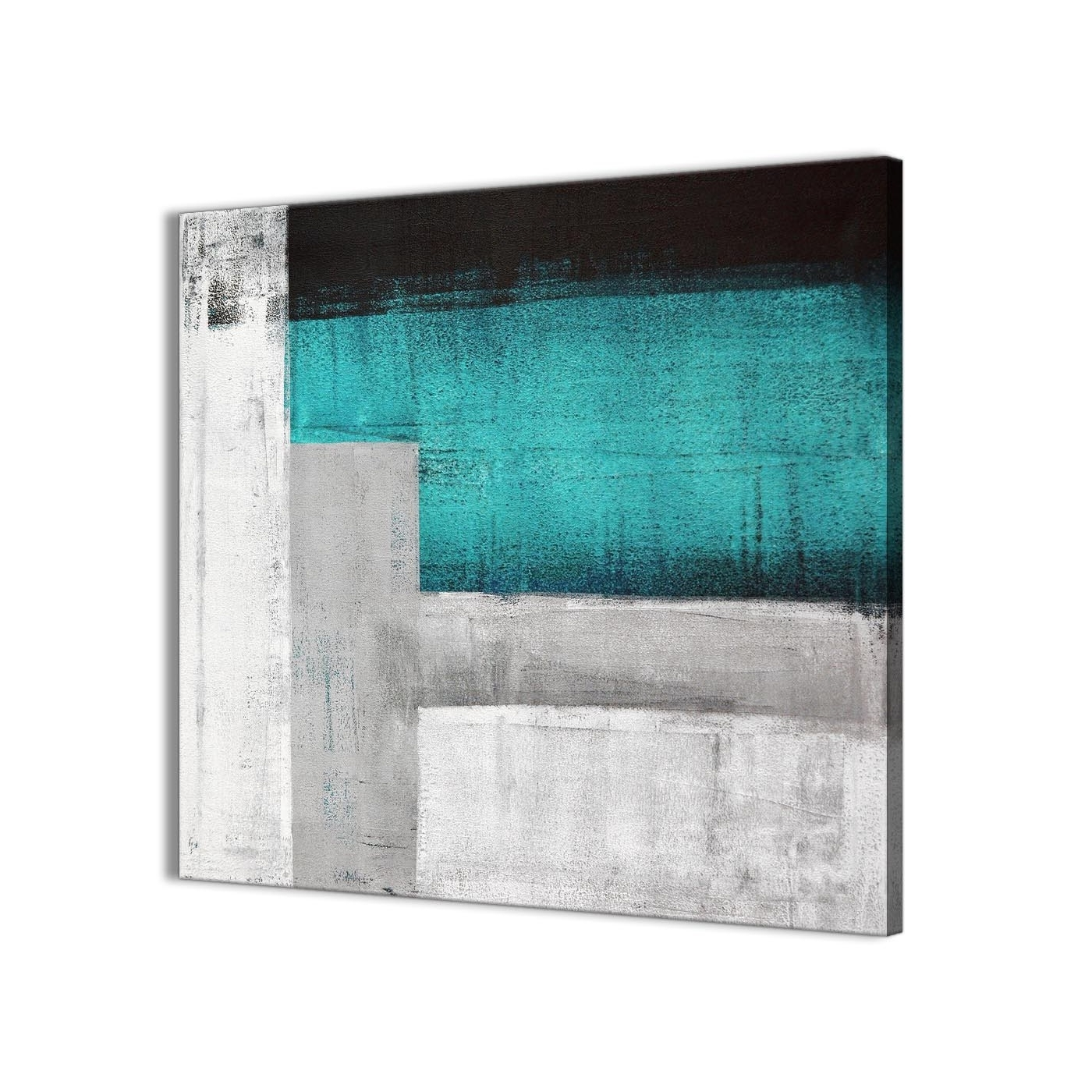 Most Popular Teal Turquoise Grey Painting Bathroom Canvas Wall Art Accessories Inside Turquoise Wall Art (View 11 of 20)