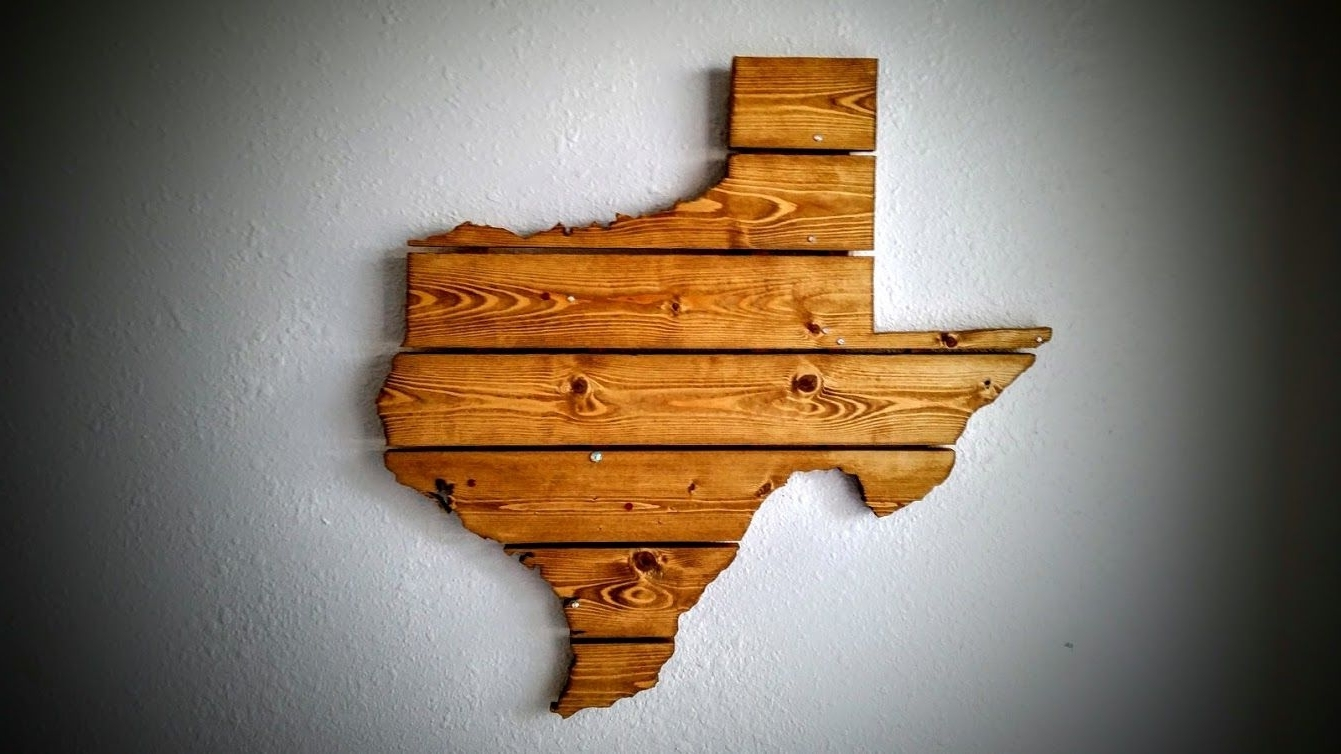 Most Popular Texas Wall Art In Hand Crafted Texas Wooden State Map Wall Artcompass Woodworking (View 14 of 20)