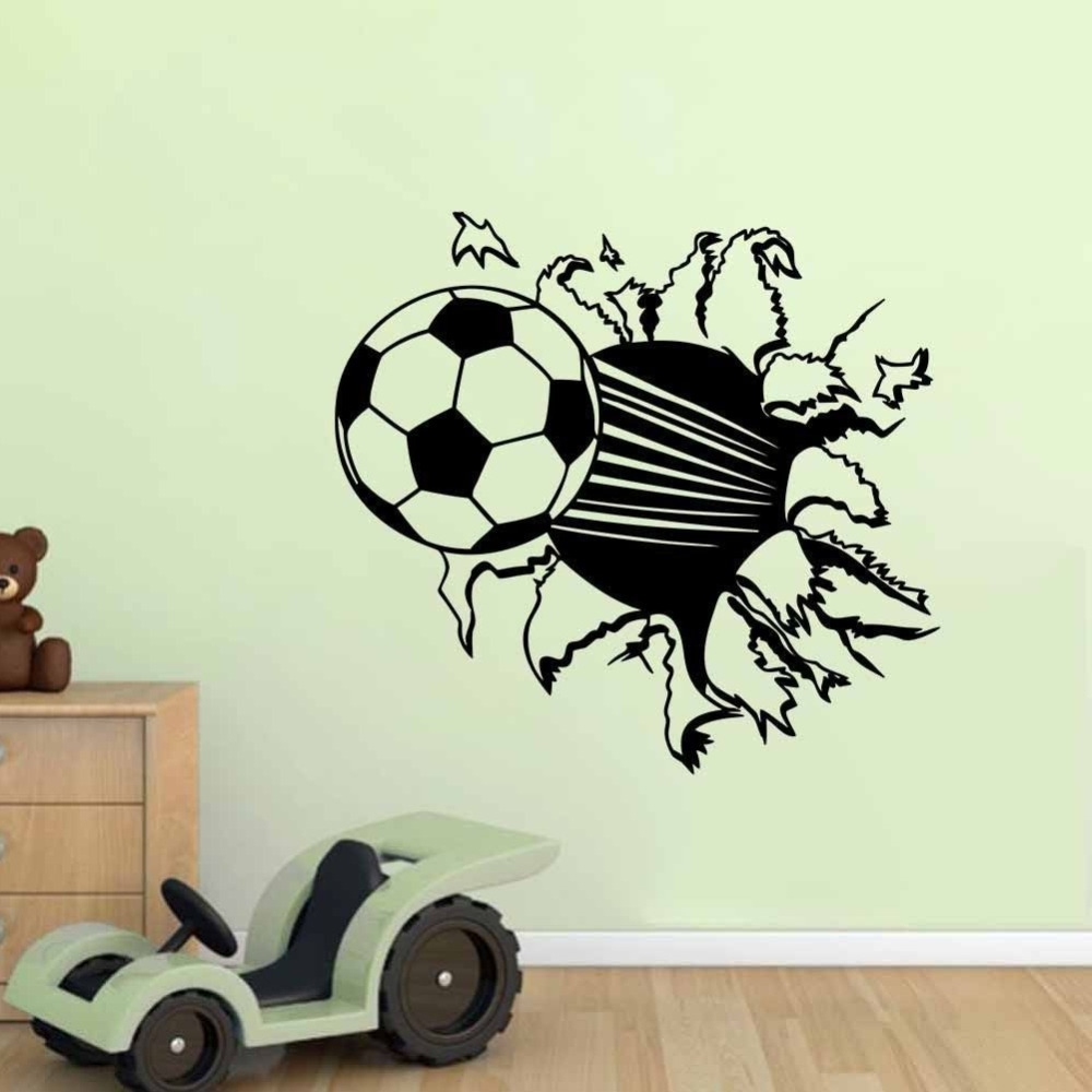 Most Popular The Sport Soccer Wall Stickers For Kids Room Boys Bedroom Gym Wall With Regard To Soccer Wall Art (View 3 of 20)