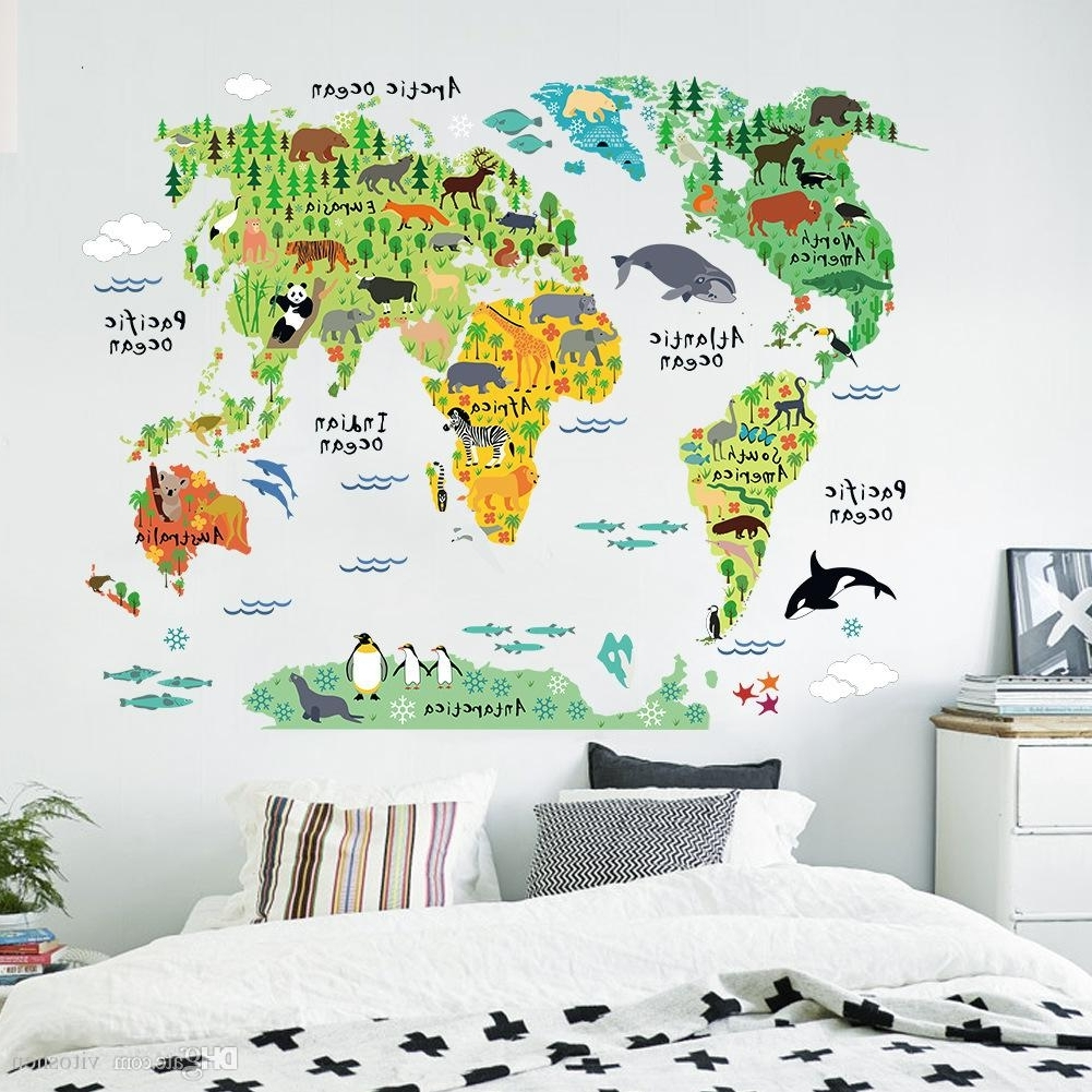 Most Popular Vinyl Wall Art World Map Throughout Animal World Map Wall Art Stickers Nursery Kids Decor Removable (Gallery 8 of 20)