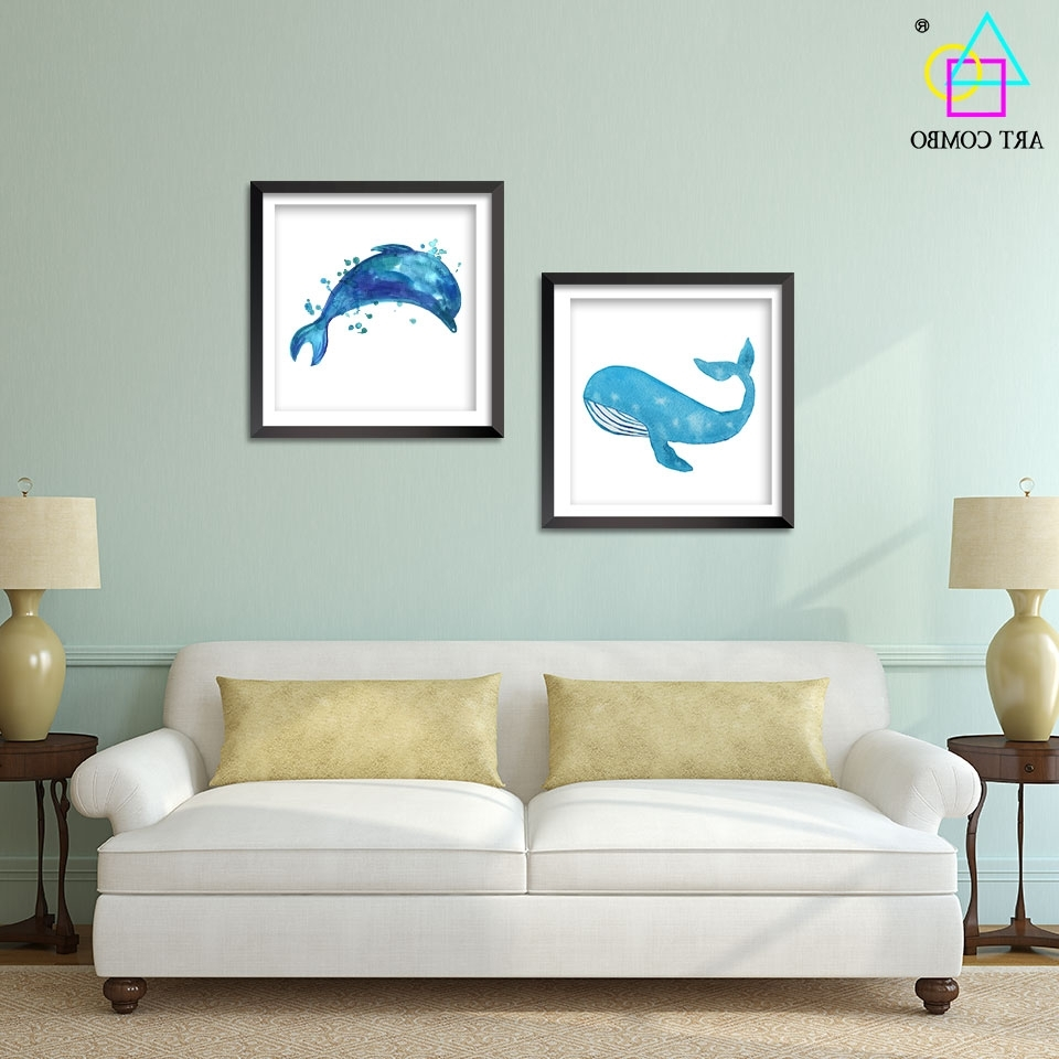 Most Popular Whale Canvas Wall Art In Modern Art Blue Whale Dolphins Paintings On Canvas Wall Art Picture (View 2 of 20)