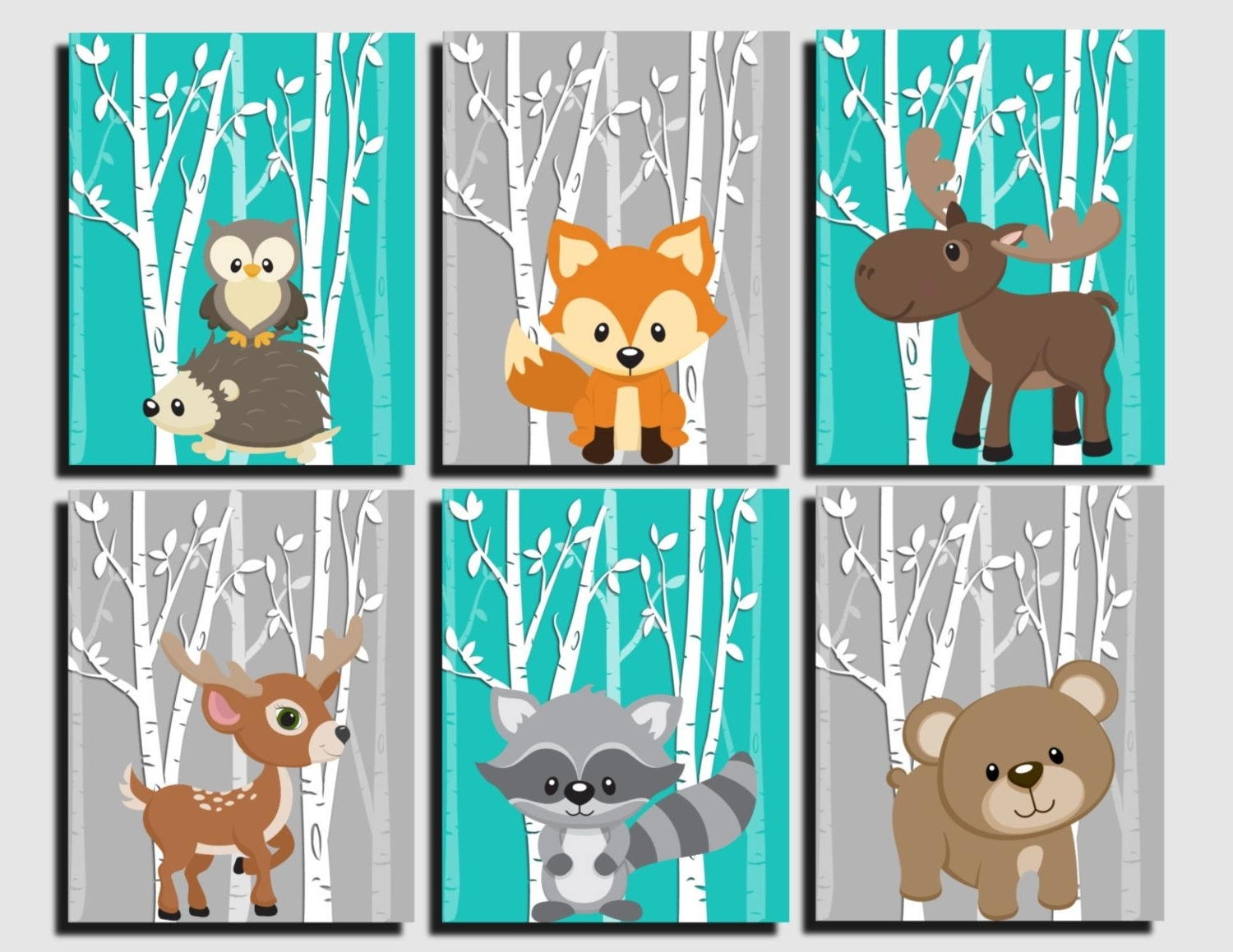 Most Popular Woodland Nursery, Woodland Wall Decor Kids, Teal, Gray, Forest With Regard To Kids Wall Art (View 10 of 15)