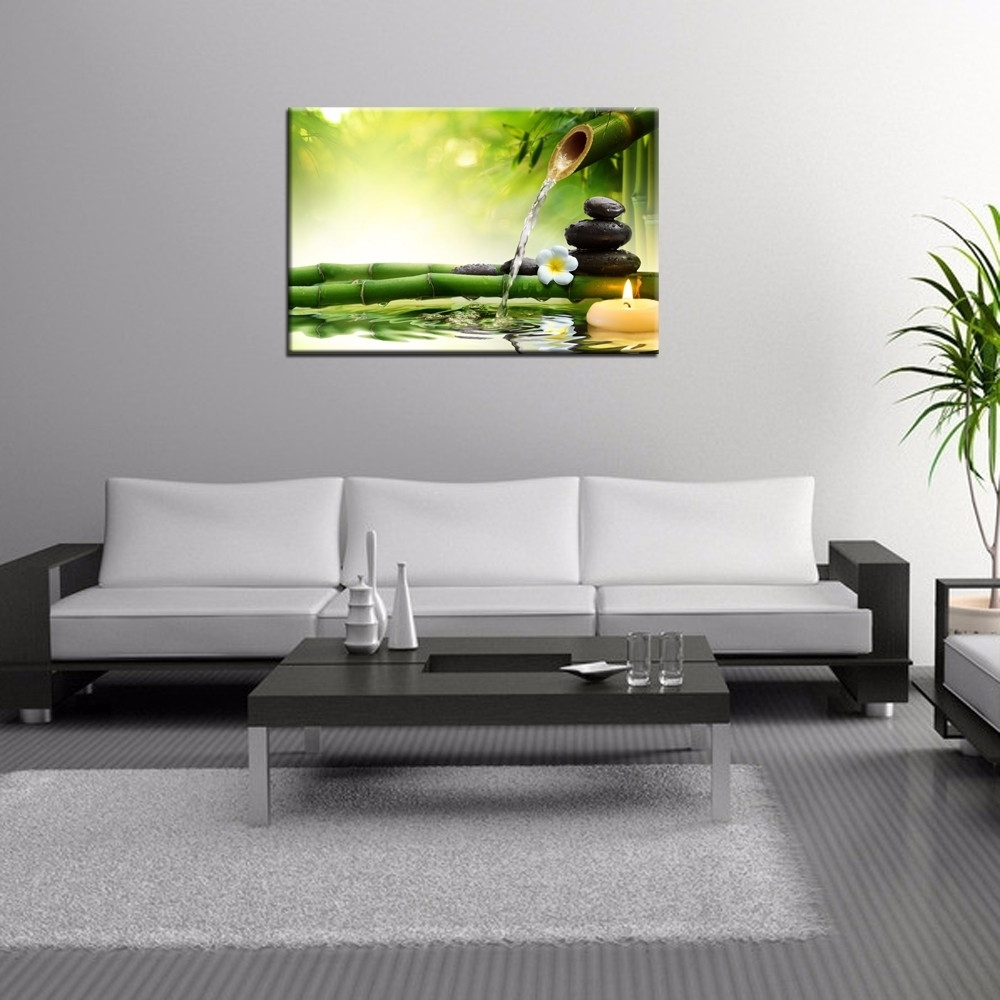Most Popular Zen Basalt Stones Wall Art/green Spa Bamboo Picture Prints/wall In Bamboo Wall Art (View 14 of 20)