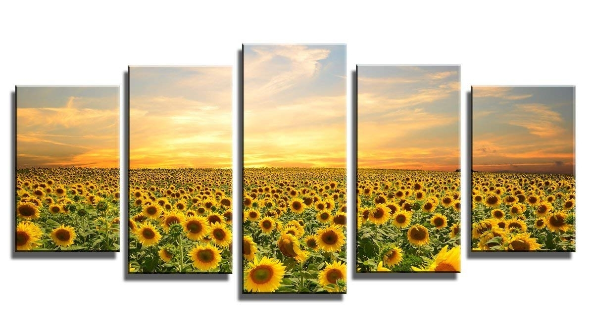 Most Recent Amazon: Wieco Art 5 Piece Floral Giclee Canvas Prints Wall Art Intended For Large Framed Canvas Wall Art (View 20 of 20)