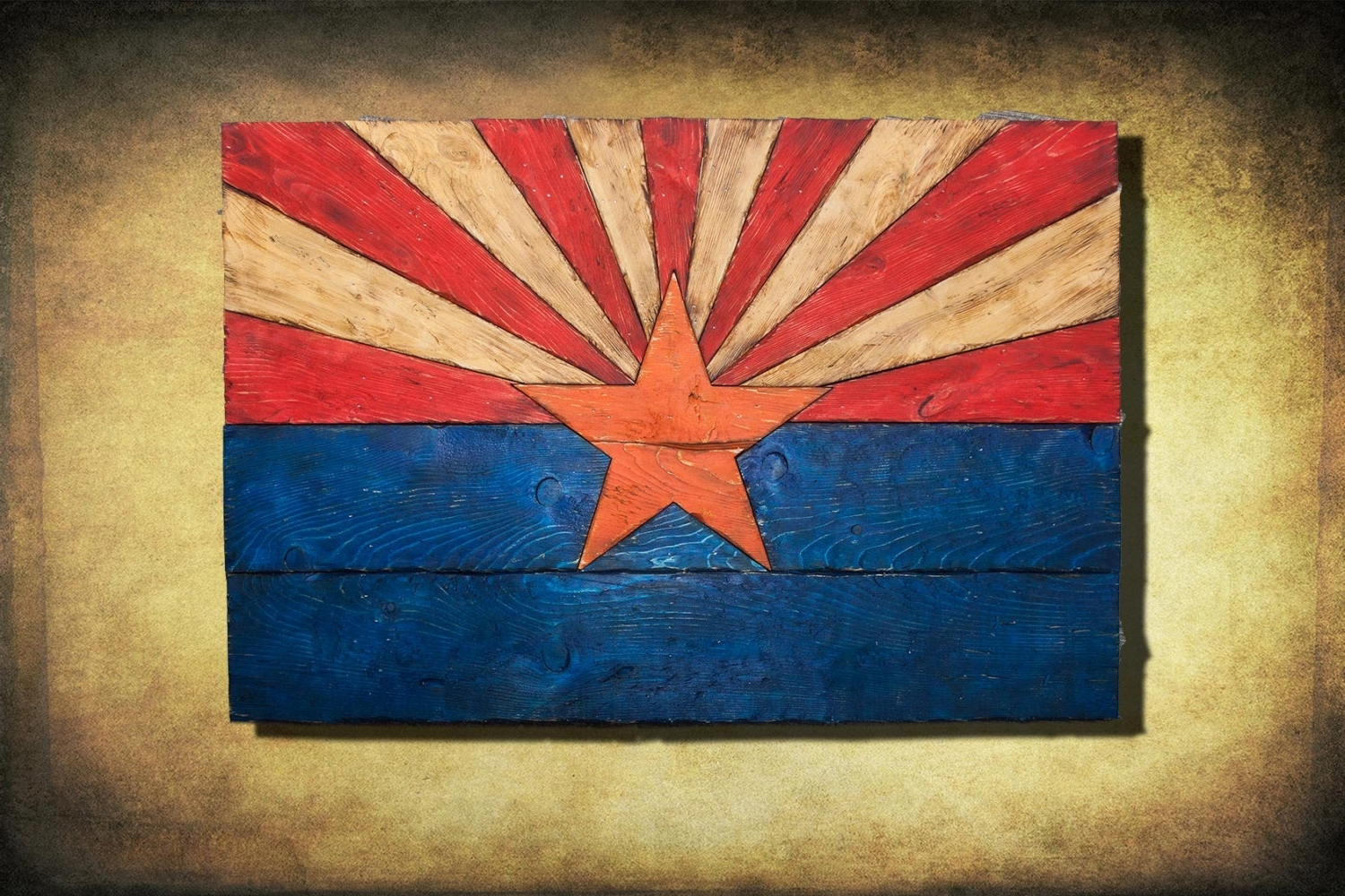 Most Recent Arizona Wall Art In Arizona Flag, Handmade, Distressed Painted Wood, Vintage, Art (View 13 of 20)