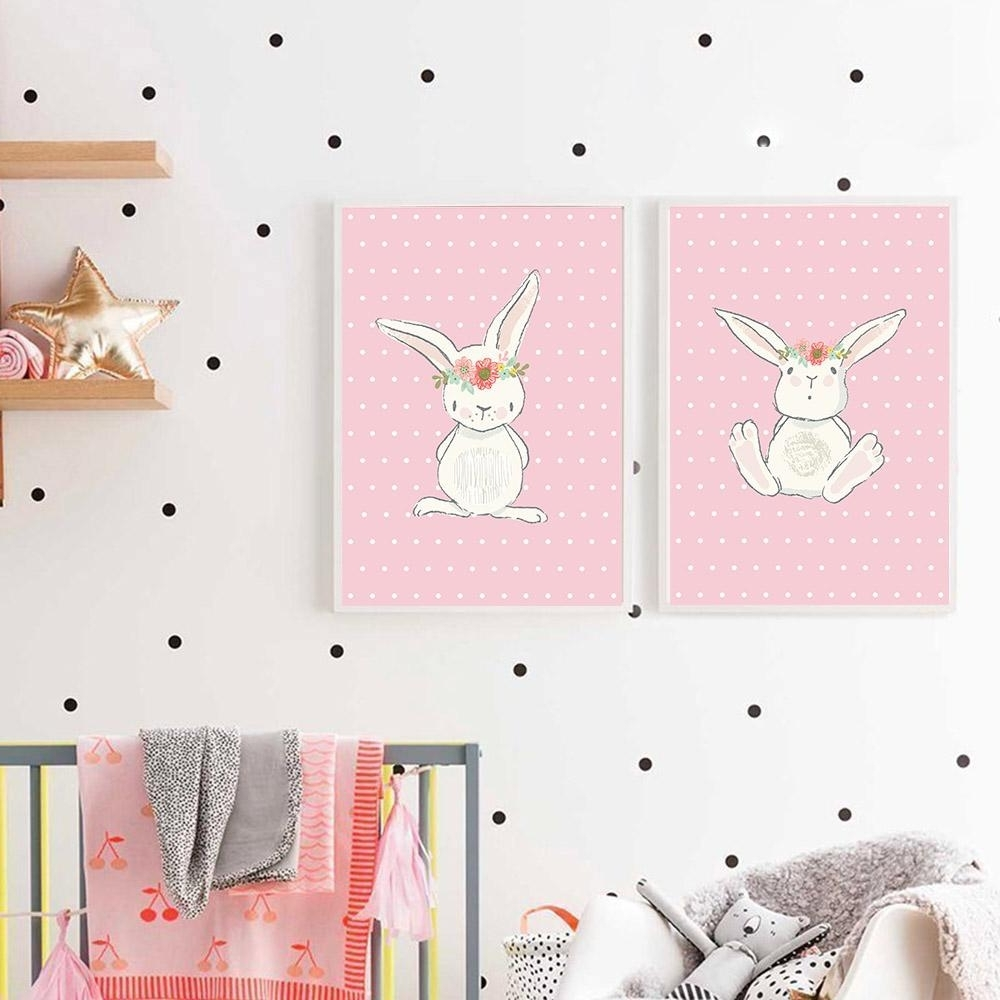 Most Recent Bunny Wall Art With 2018 Cute Pink Rabbit Bunny Wall Art Canvas Posters Cartoon Animal (View 3 of 20)