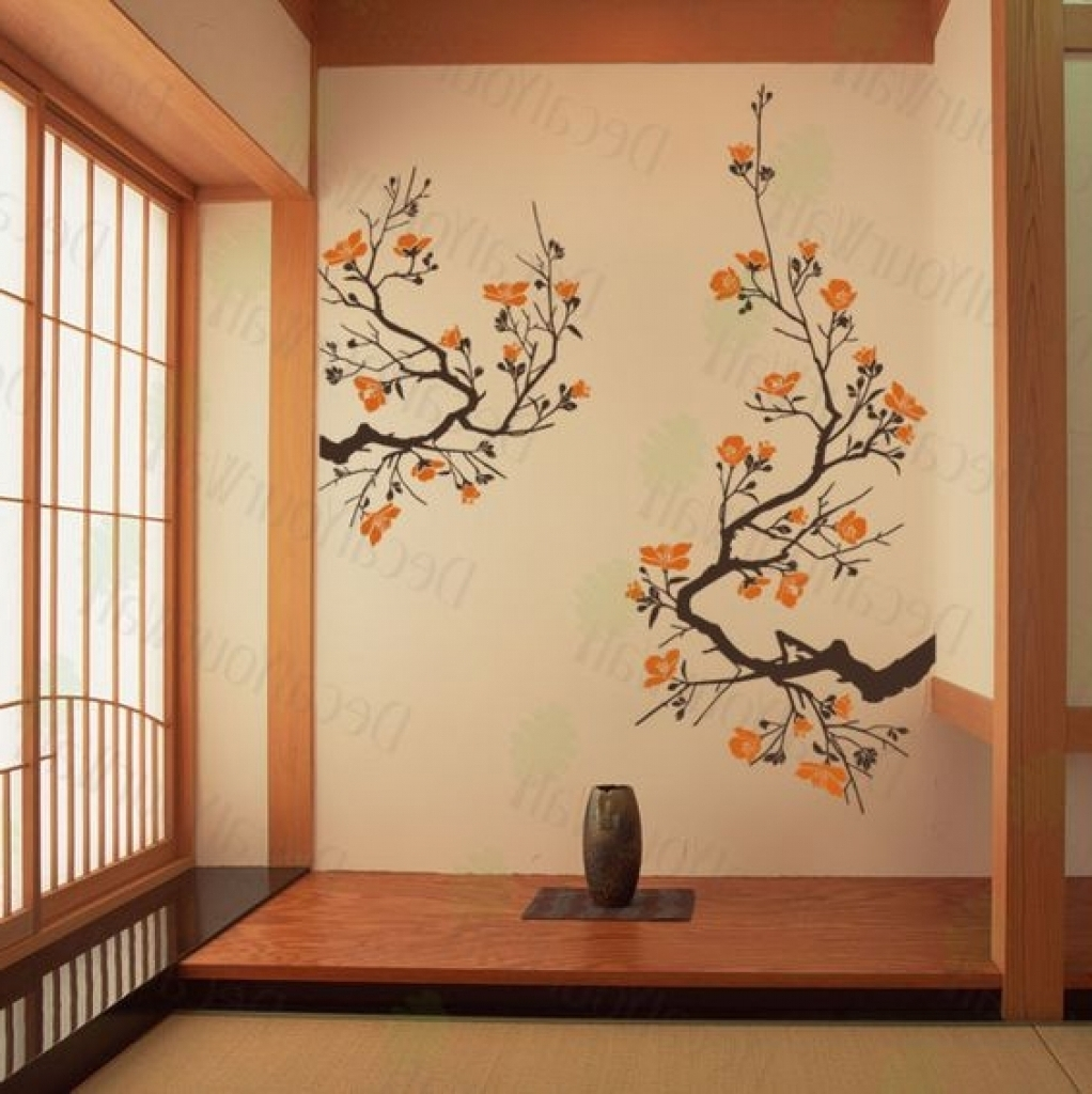 Most Recent Cherry Blossom Wall Art In Home Decor Wall Art Stickers Japanese Cherry Blossoms Wall Art Decal (Gallery 9 of 20)