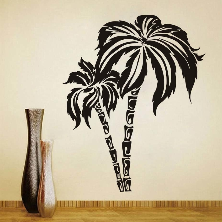 Most Recent Dctop Green Palm Tree Wall Stickers For Living Room Waterproof Wall Throughout Palm Tree Wall Art (Gallery 14 of 20)