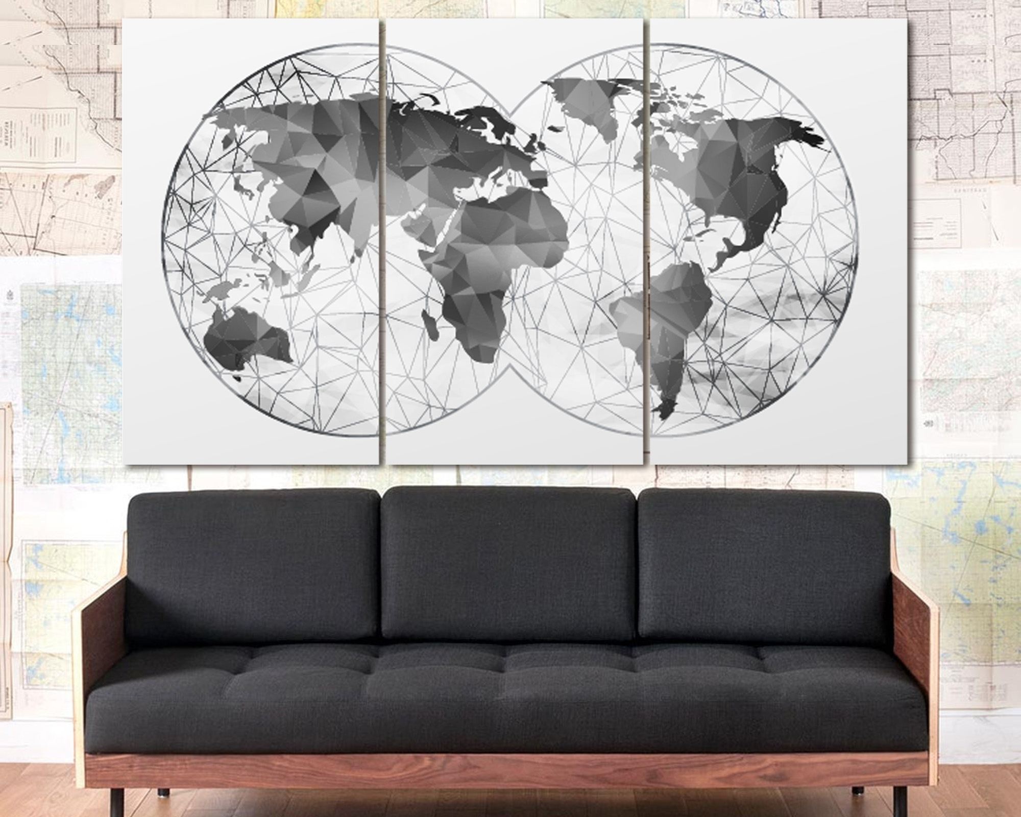 Most Recent Double Hemisphere Black & White Abstract World Map At Texelprintart With Regard To Map Wall Art Prints (View 14 of 20)