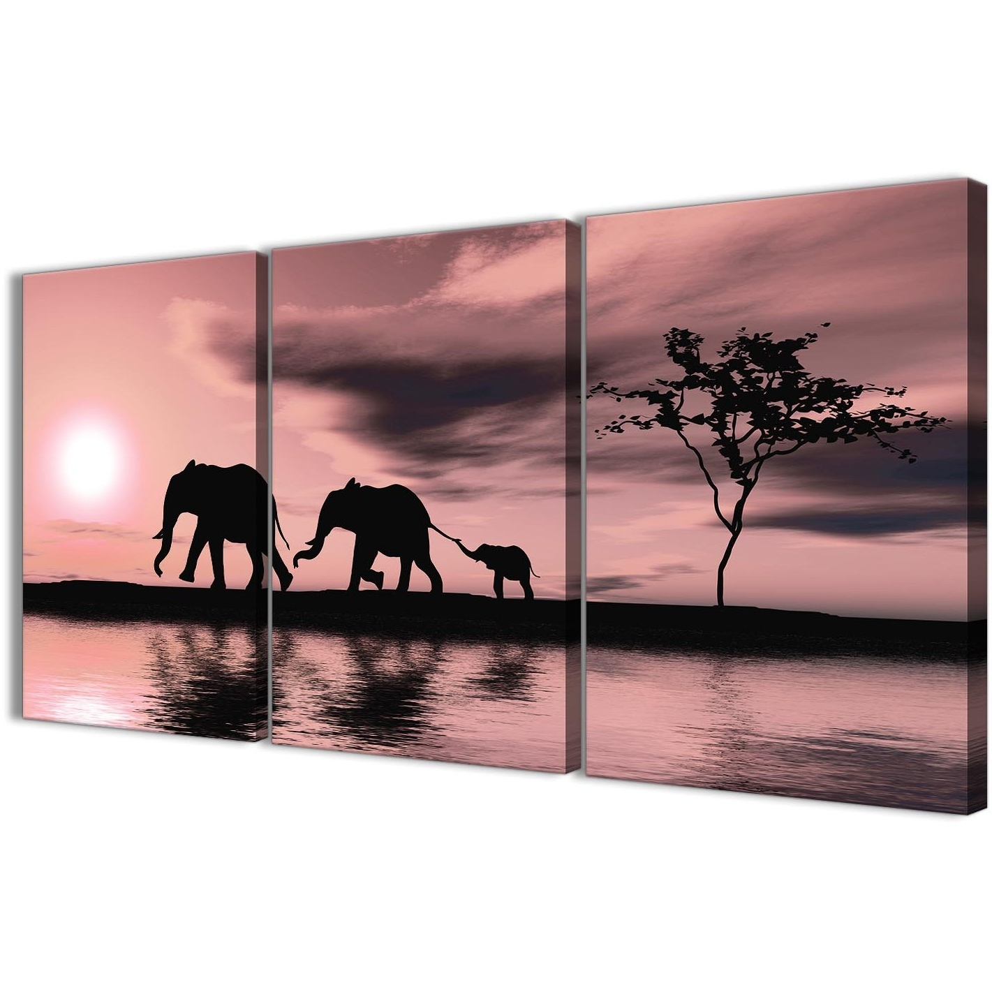 Most Recent Elephant Canvas Wall Art Inside Blush Pink African Sunset Elephants Canvas Wall Art Print – Multi (View 17 of 20)