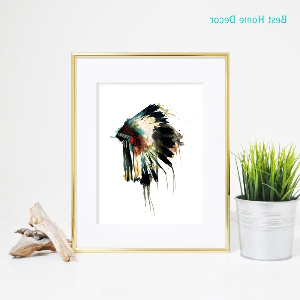 Most Recent Feather Wall Art Regarding Native Indian American Headdress Art Print Feather Wall Art Wall (View 13 of 20)