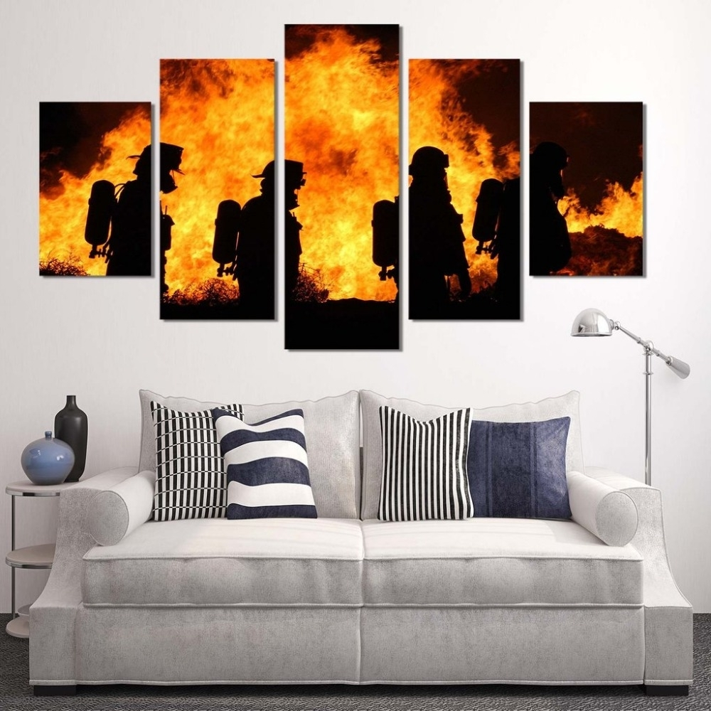 Most Recent Firefighter Wall Art With 5 Panels Canvas Prints Firefighter Our Hero Canvas Painting Poster (View 14 of 20)
