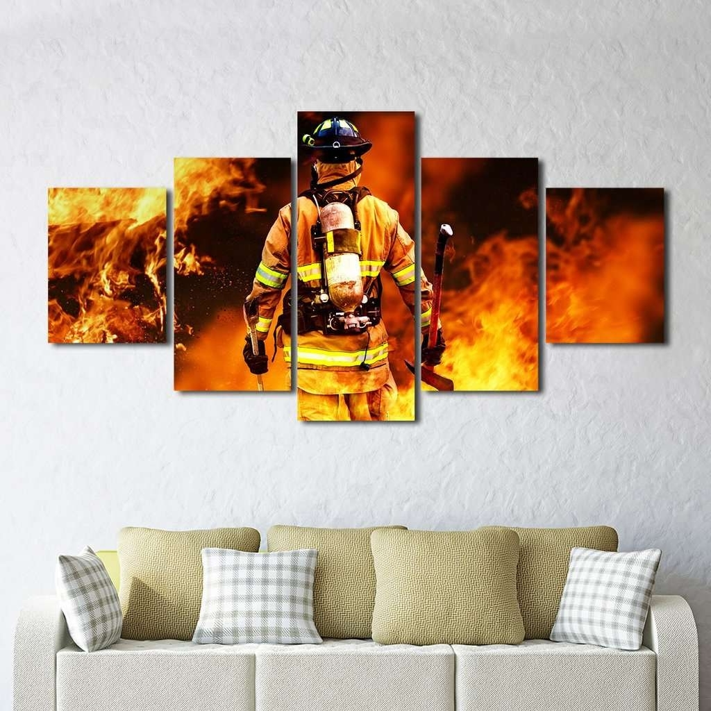 Most Recent Fireman Fighting Fire Iaff Multi Panel Wall Art Canvas – Mighty Inside Multi Panel Wall Art (View 9 of 15)