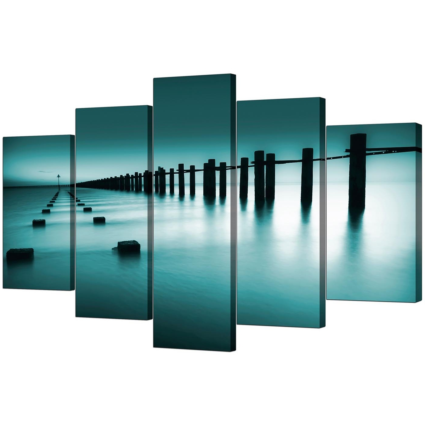 Most Recent Five Piece Canvas Wall Art Within Extra Large Sea Canvas Wall Art Five Panel In Teal (View 11 of 20)